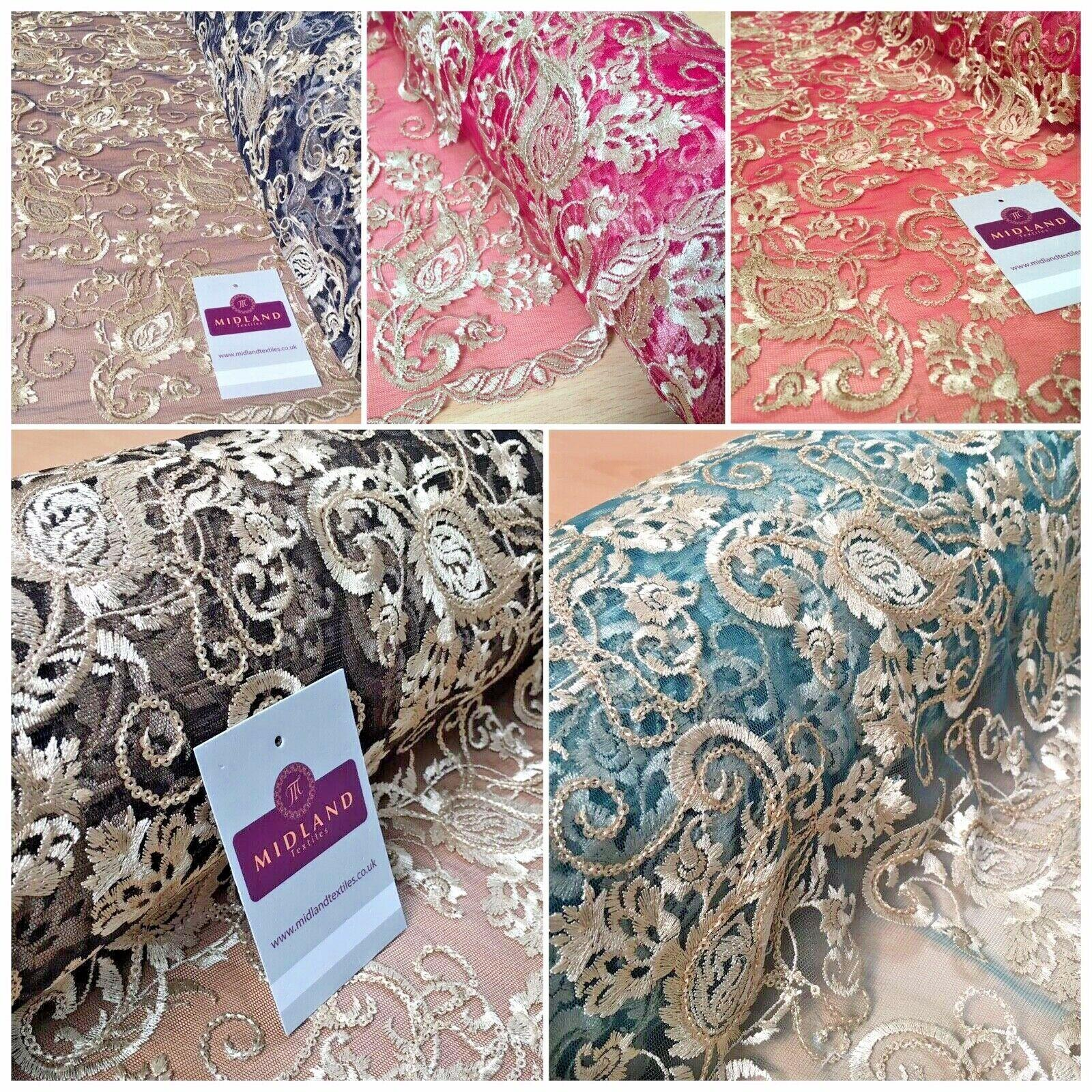 Double Scalloped Border Floral Paisley Tulle net Dress Fabric 120cm Wide MJ1069
