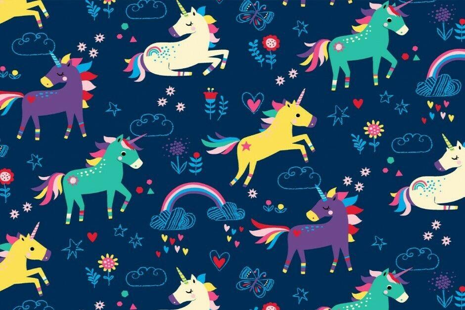 Navy Blue Unicorns Cotton Stretch Jersey Printed Fabric 150cm Wide MX1061
