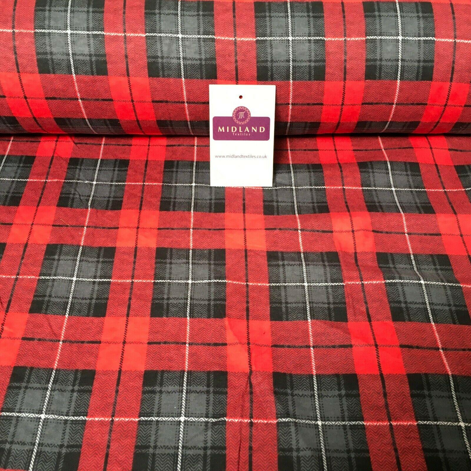 "Red Grey Tartan Cotton Wynciette Soft Brushed Flannel Fabric 58"" Wide MK988-30"