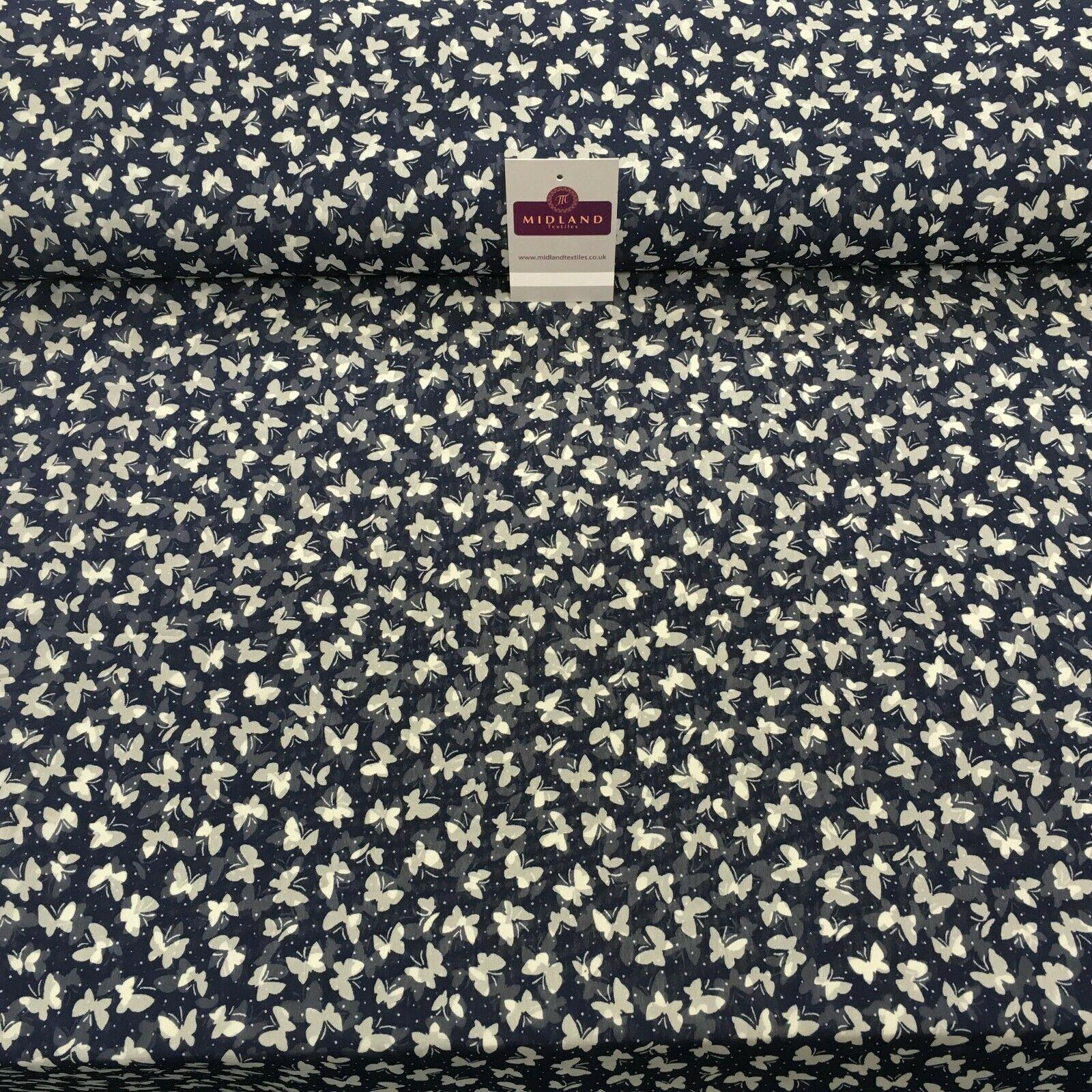 Navy Silhouette Butterfly Printed Light Chiffon Fabric 150 cm Wide MK1084-4