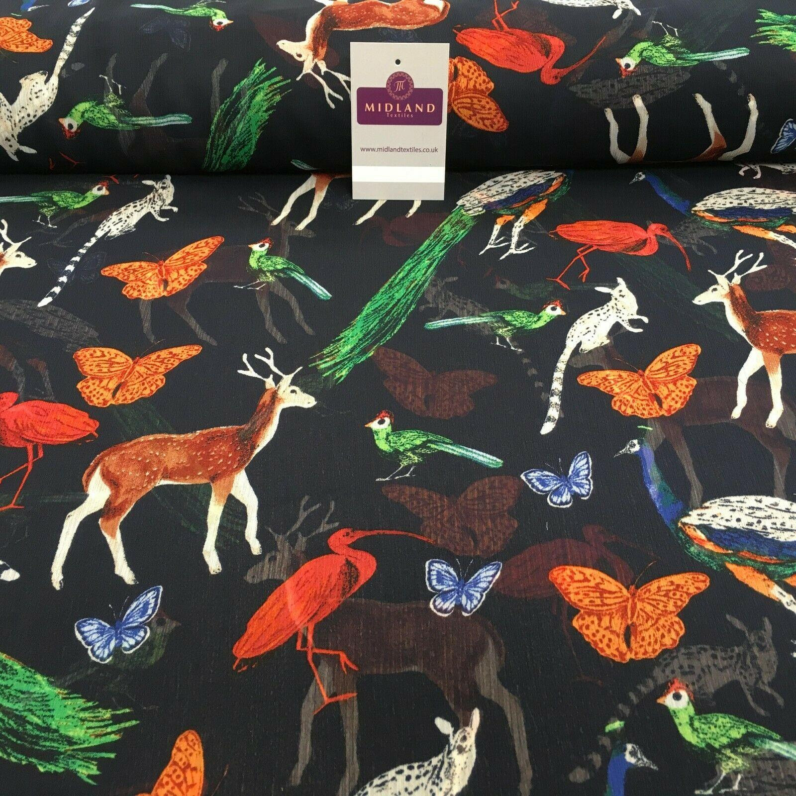 Navy Wildlife Printed High street Chiffon Fabric 150 cm Wide MK1084-10