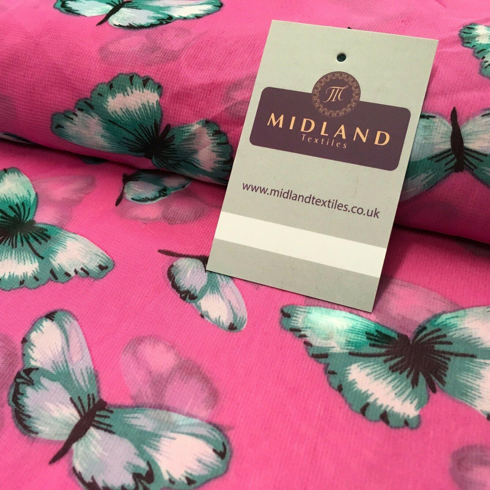 Pink Butterfly High Street Printed Light Chiffon Fabric 150 cm Wide MK1084 Mtex