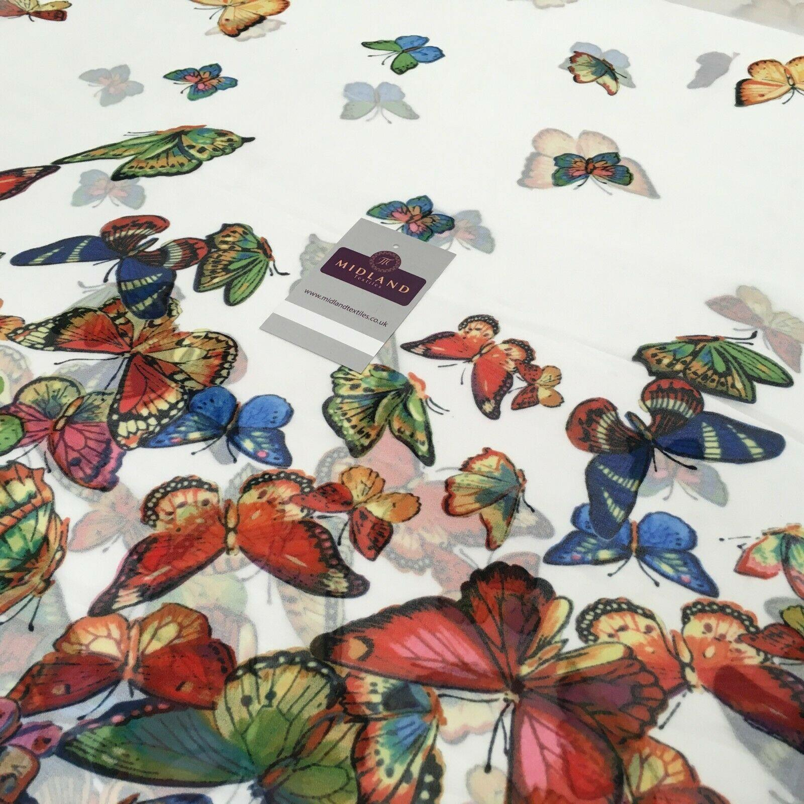 White Multi Border Printed Butterfly Light Chiffon Fabric 150 cm Wide MK1084-3