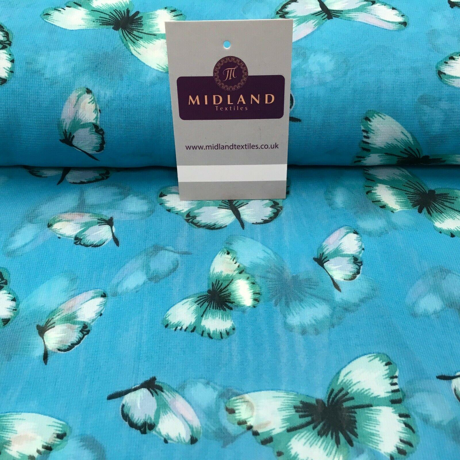 Turquoise Butterfly High Street Printed Light Chiffon Fabric 150 cm MK1084-2