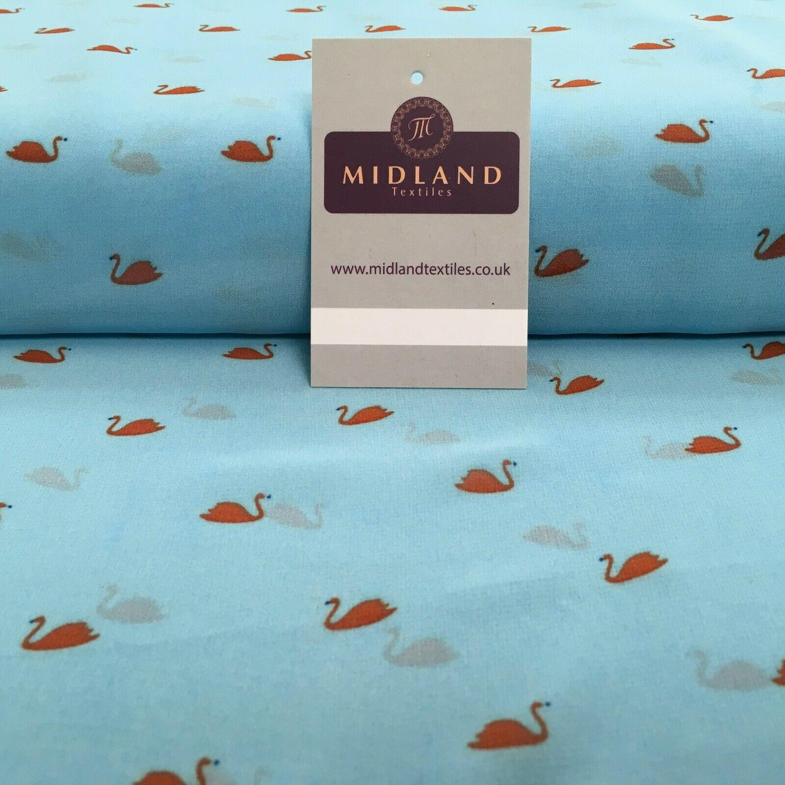 Sky Blue Swan Printed Light High Street Chiffon Fabric 150cm MK1084-20