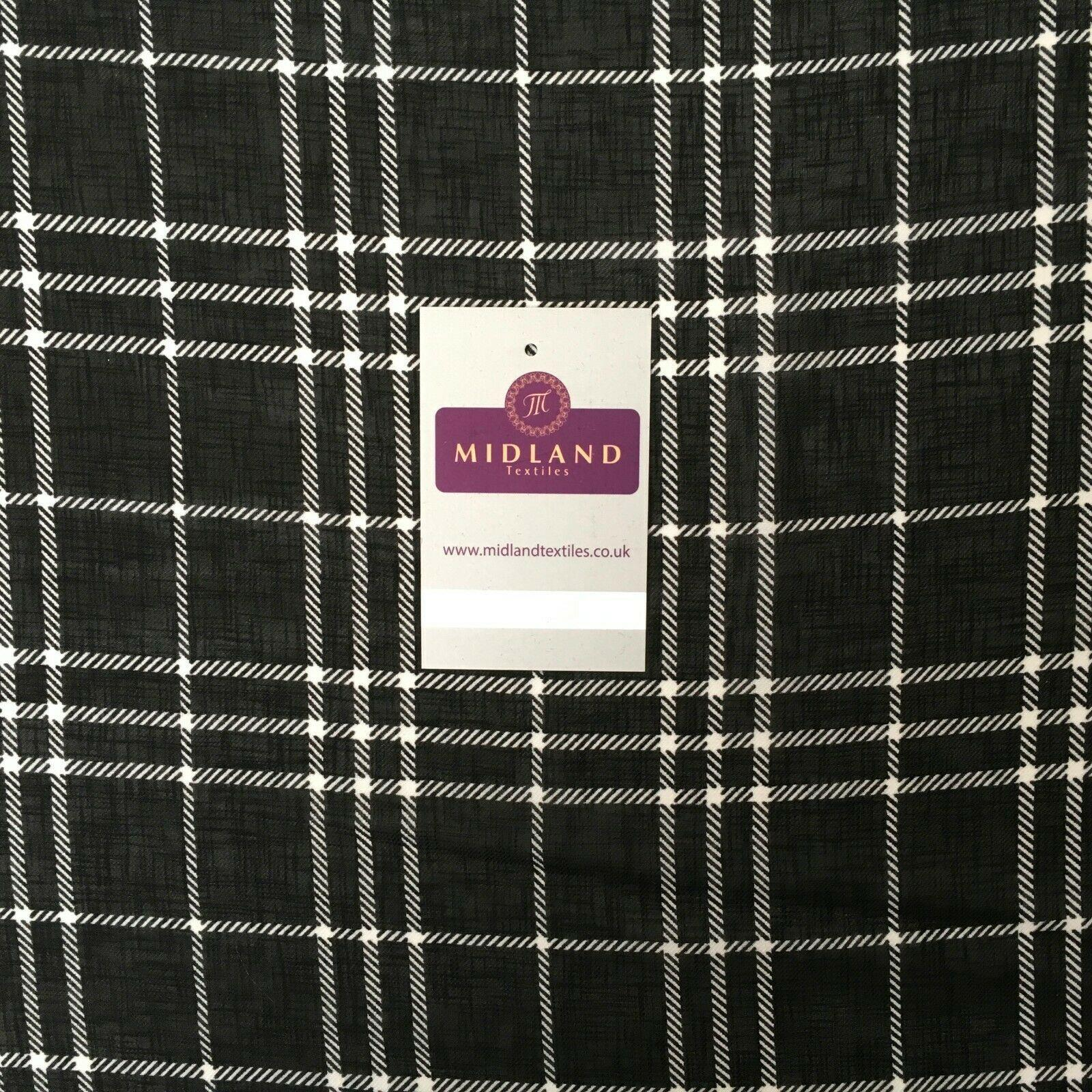 Black tartan check Georgette crepe Linen effect dress Fabric 150cm wide MK1095-8