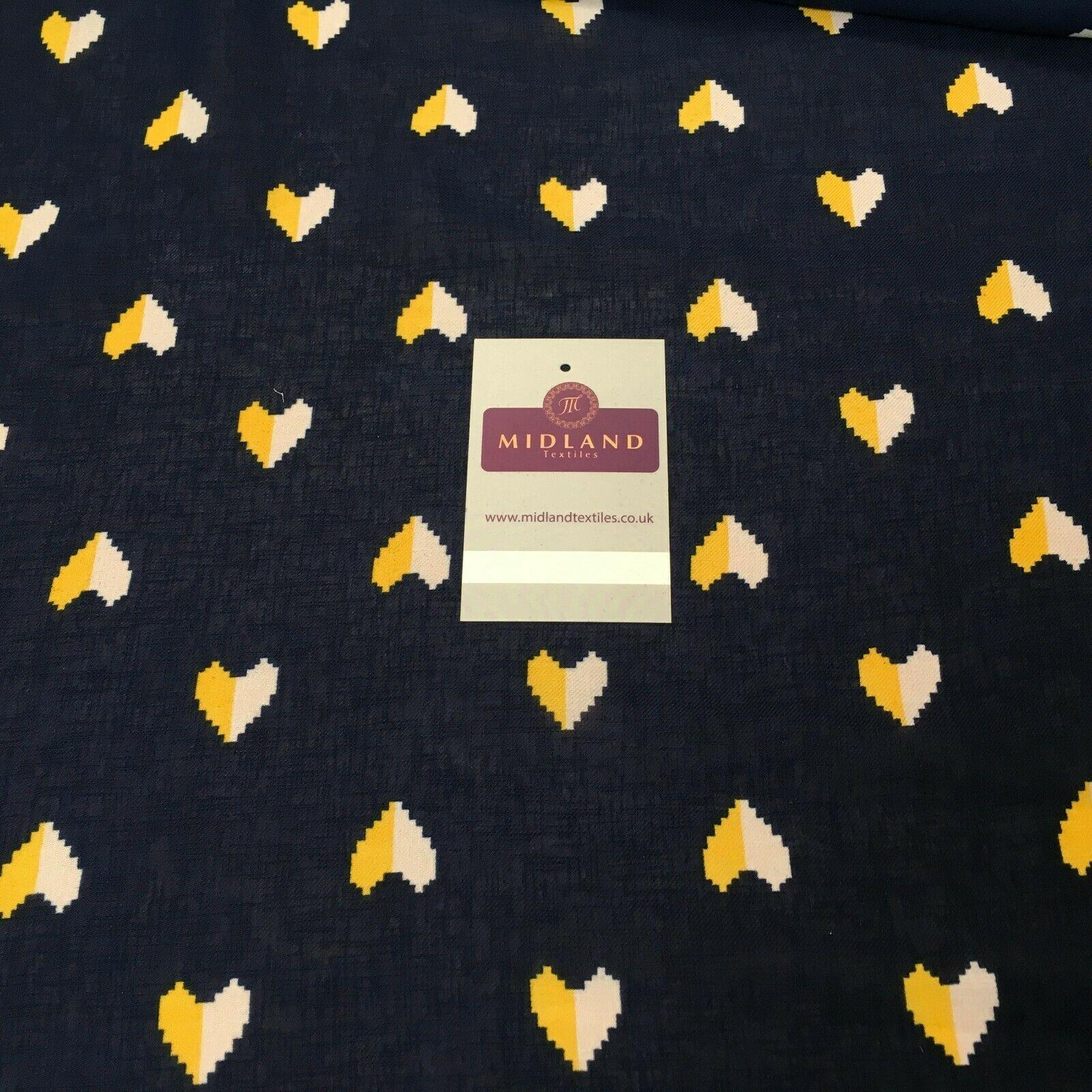 Navy Blue & Yellow Heart Georgette crepe Linen effect Fabric 150cm MK1095-23