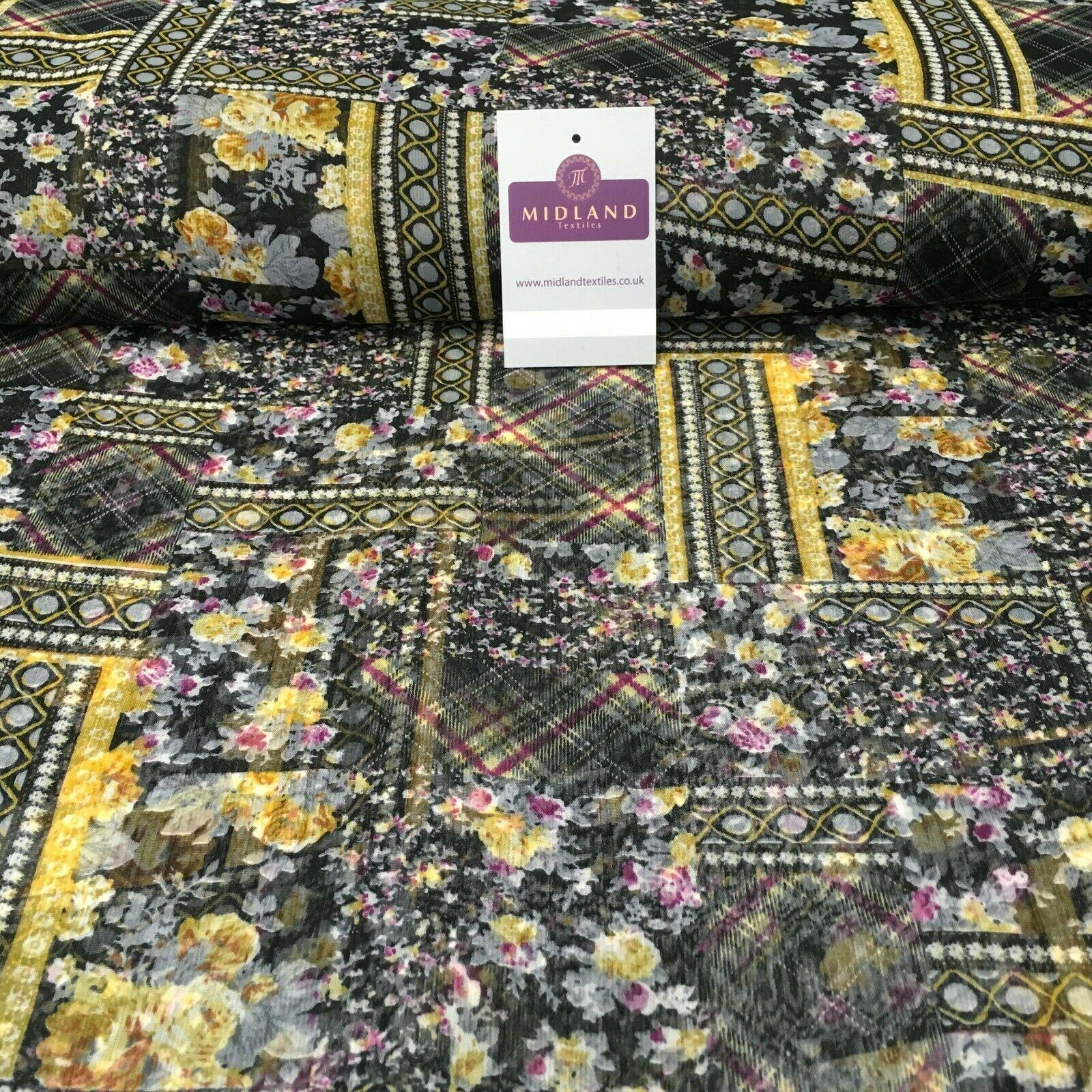 Black and yellow printed Crinkle Georgette Chiffon fabric 150cm wide MK1090-10