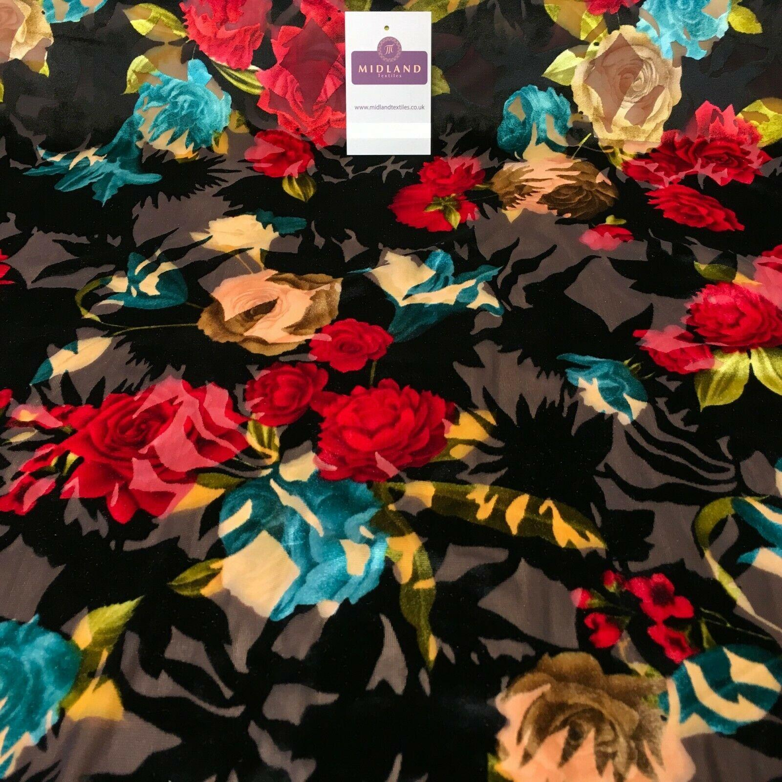 Black Brown Burnout Vintage Floral velvet dress Fabric 147 cm wide MA1094-1