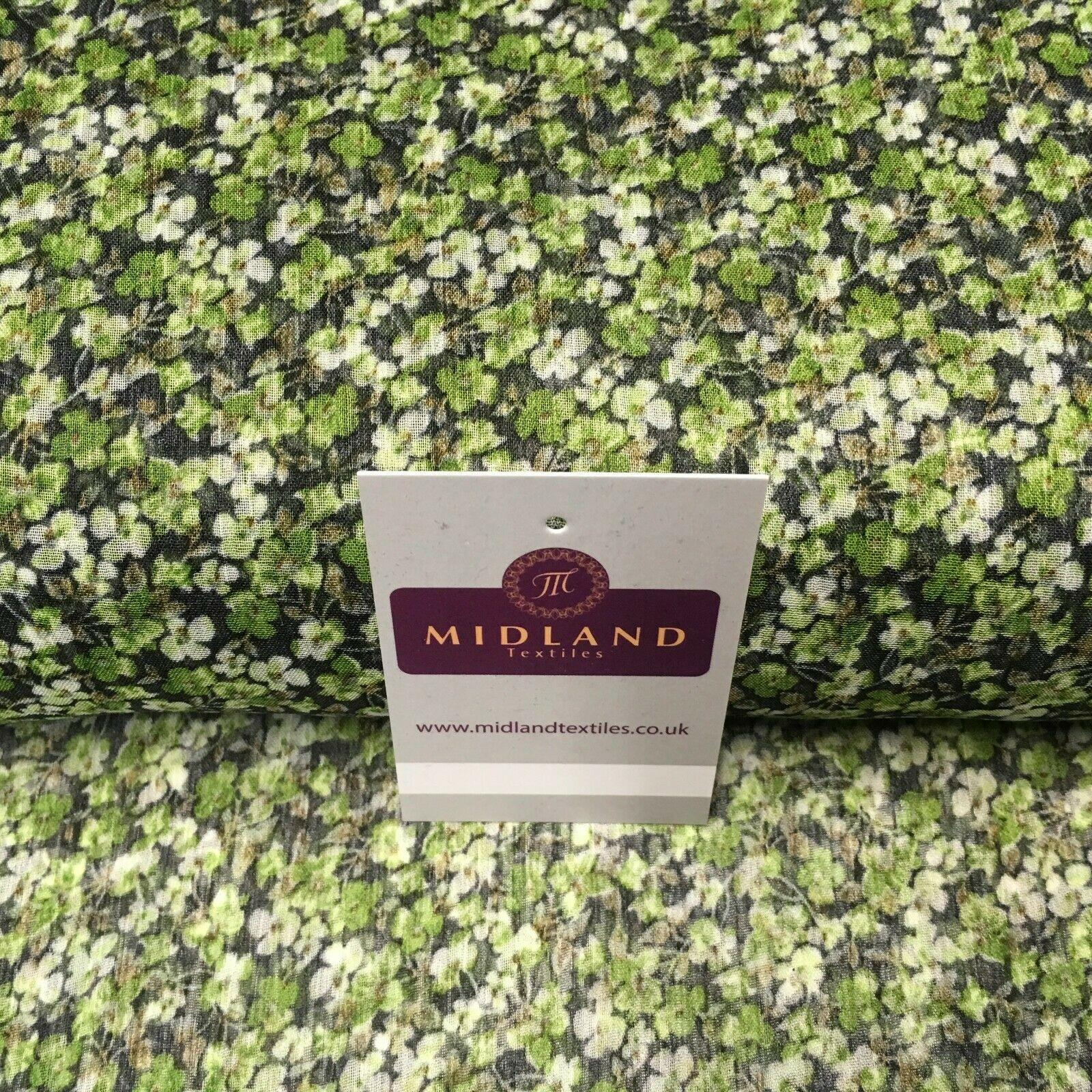 Green Floral Printed Crinkle Georgette Chiffon's Fabric 150cm wide MK1090-3