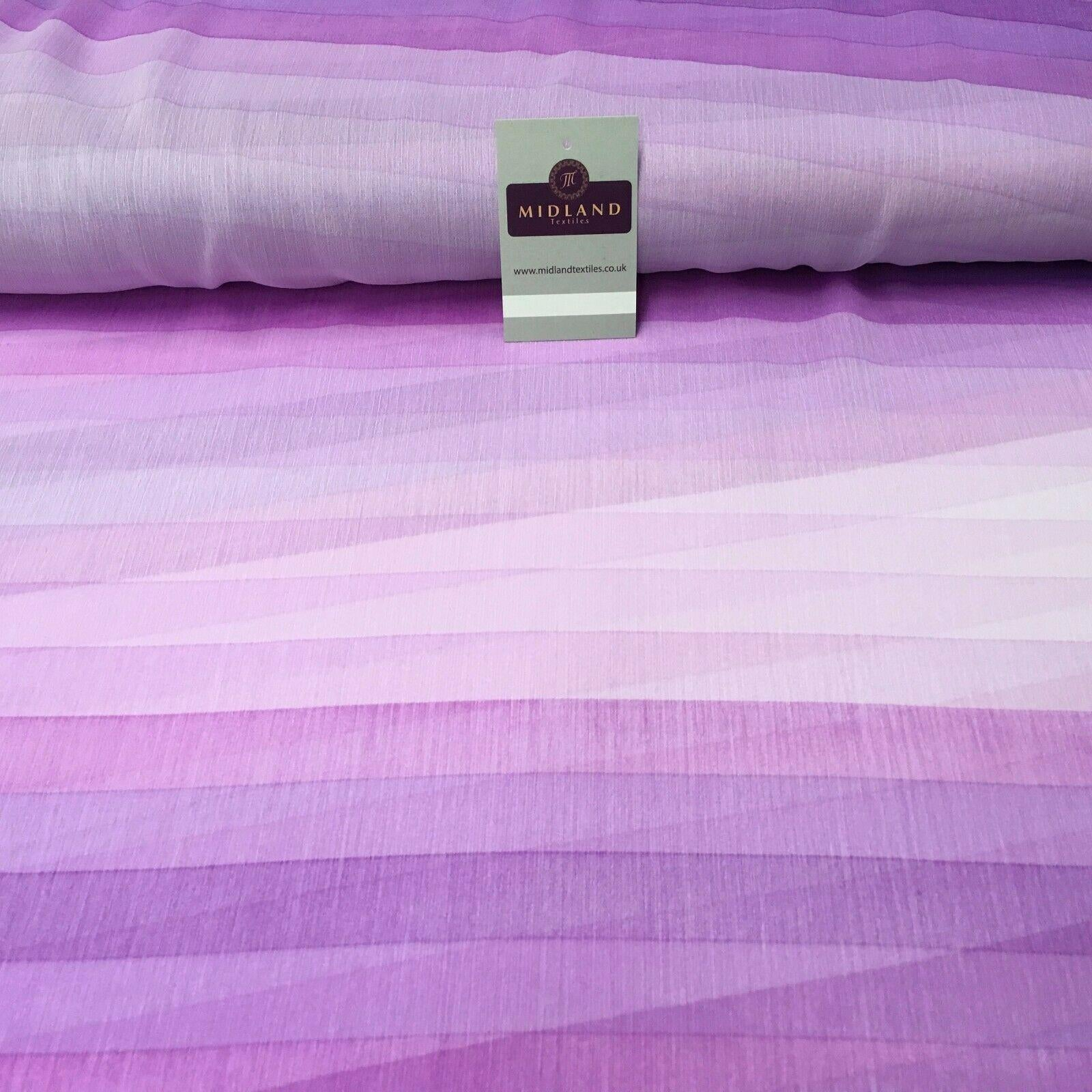 Lilac stripes printed Crinkle Georgette Chiffon fabric 150cm wide MK1090-11