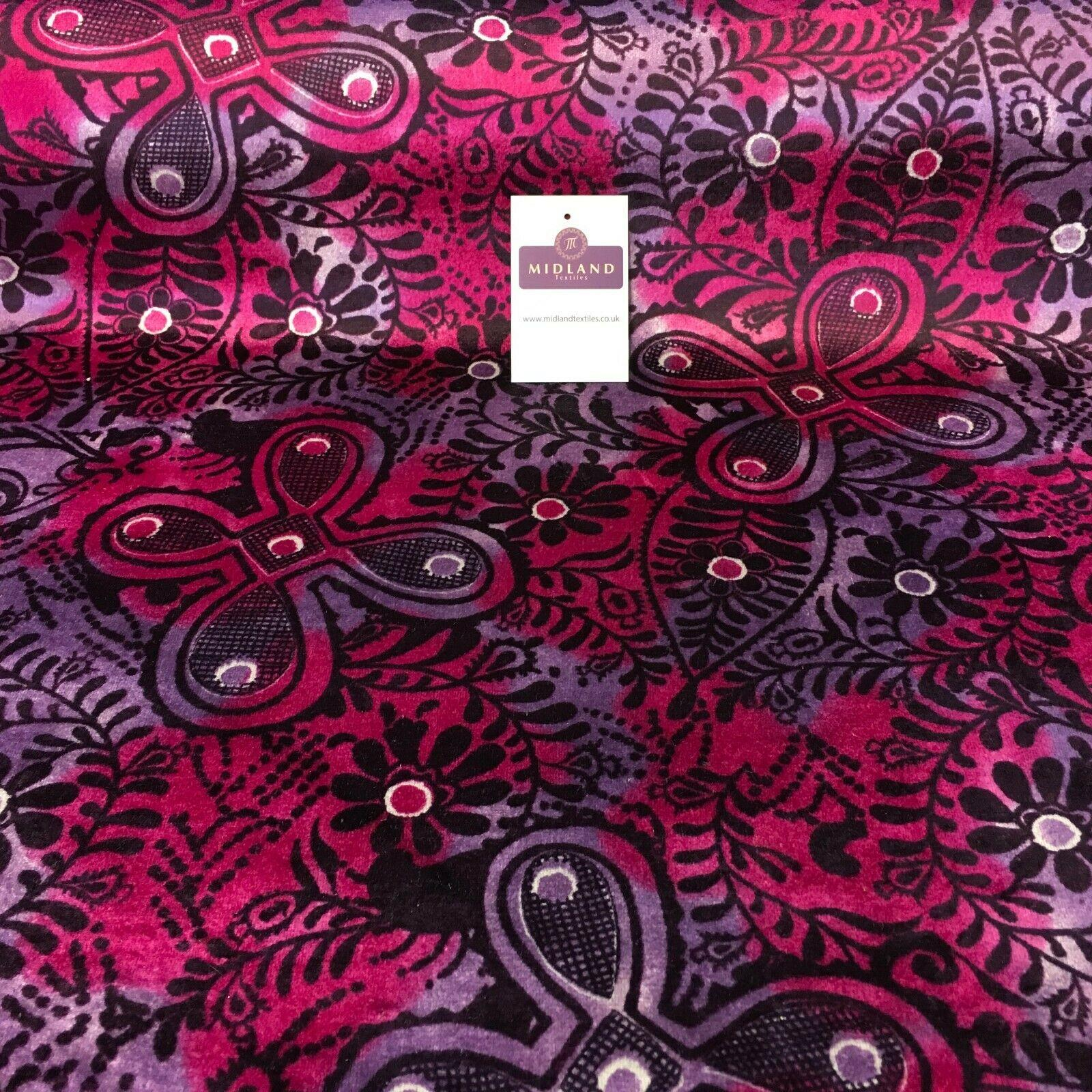 Pink Lavender Paisley Printed Velvet Dress Fabric 147 cm wide M16-36
