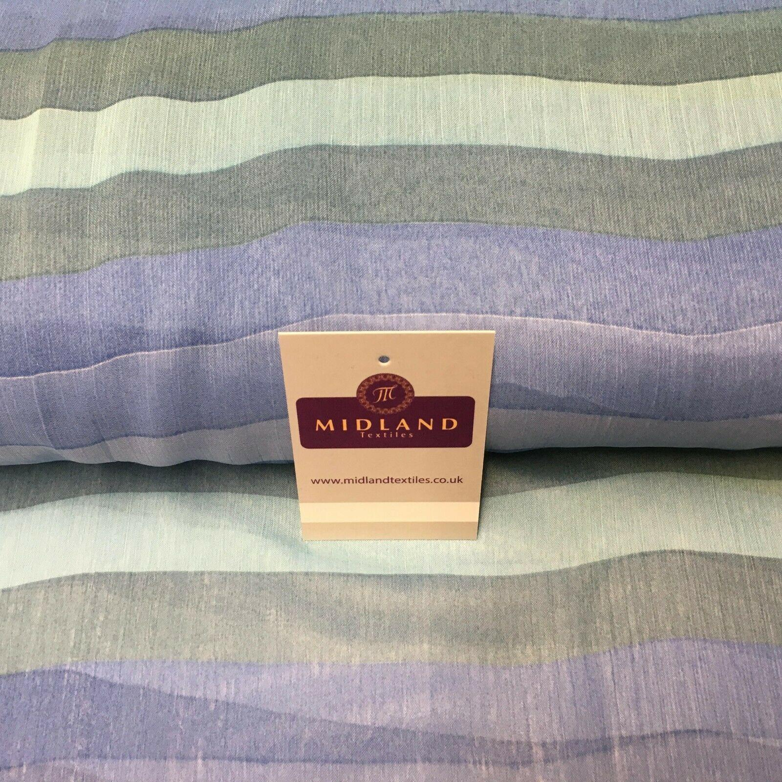 Blue stripes printed Crinkle Georgette Chiffon fabric 150cm wide MK1090-12