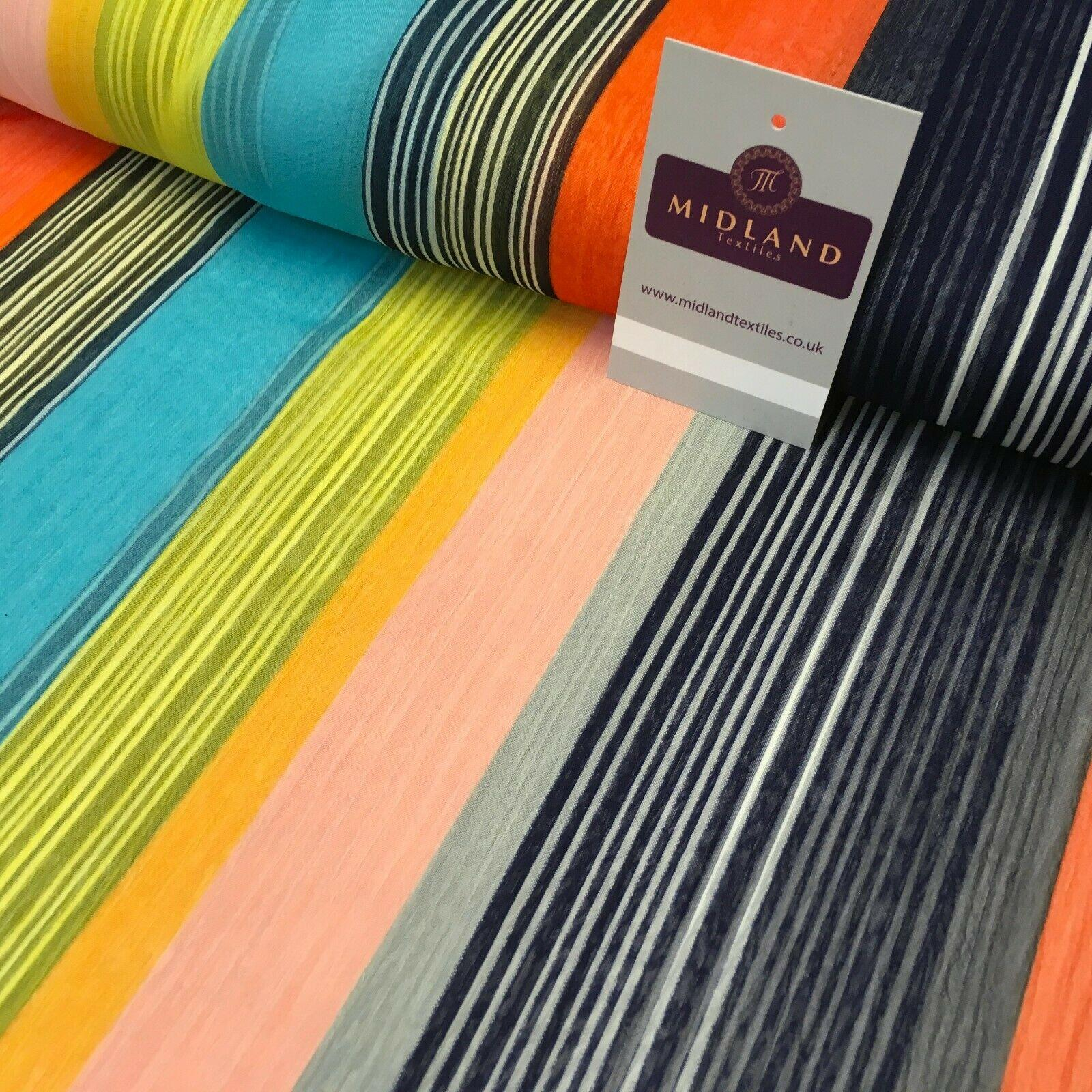 Navy Yellow striped printed Crinkle Georgette Chiffon fabric 150cm MK1090-16