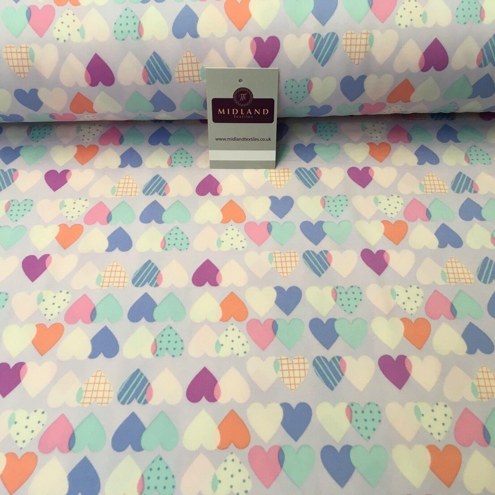 Lilac Hearts Printed Brushed Jersey Dress fabric 150cm Wide MK1106-10 Mtex