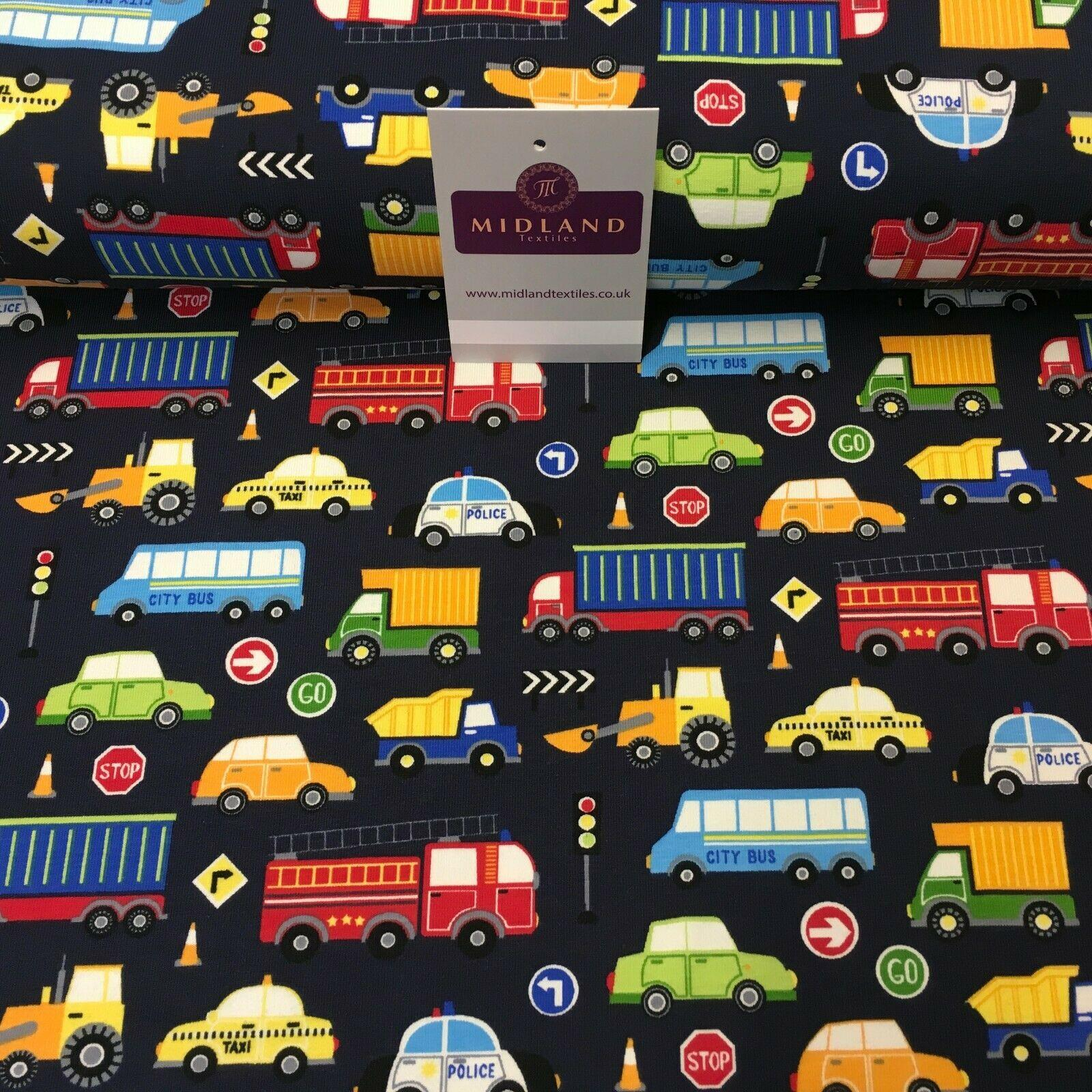 Navy Blue Boys Cars Cotton Stretch Jersey Printed Fabric 150cm Wide MX1114