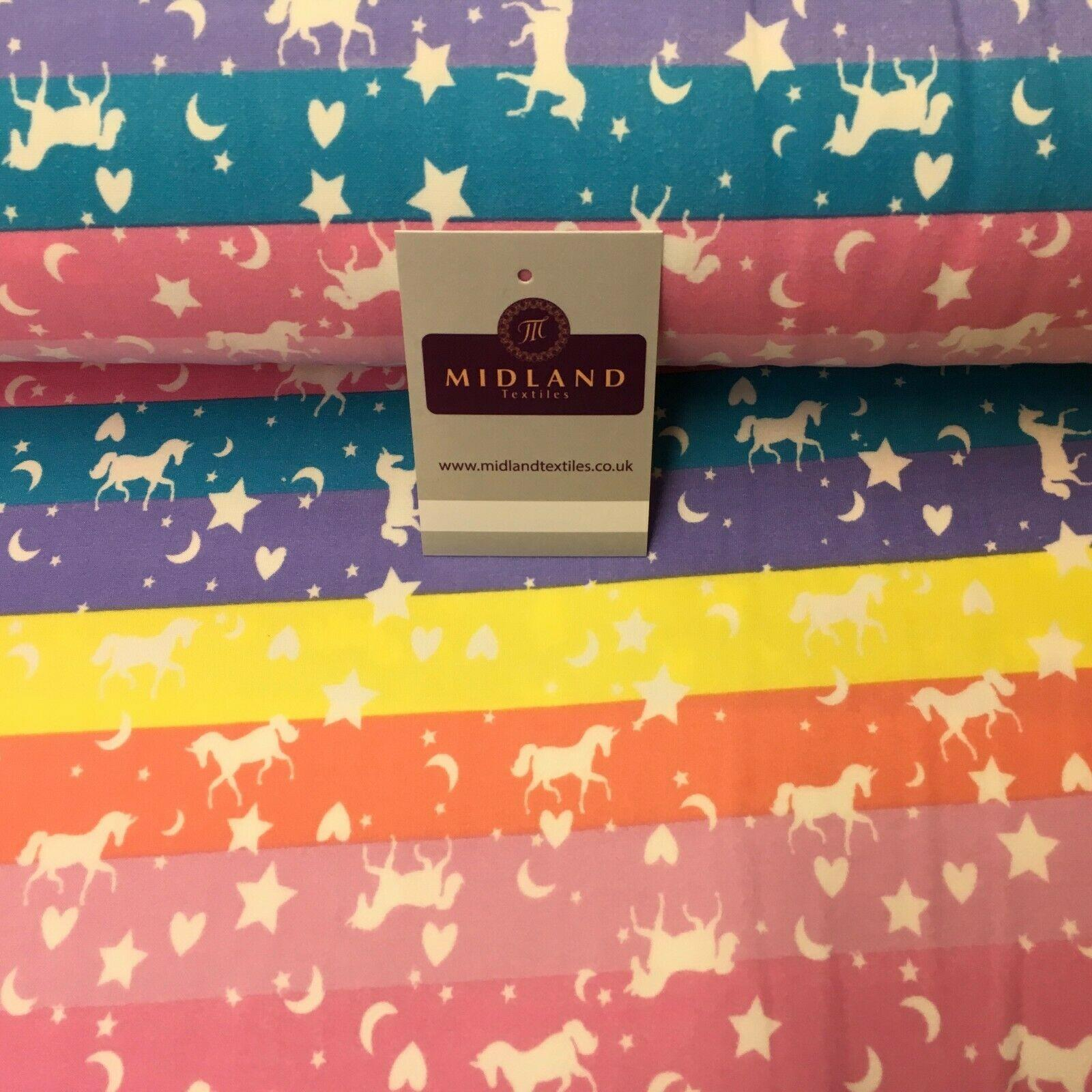 Pink Yellow Unicorns Printed Brushed Jersey Dress fabric 150cm Wide MK1106-8