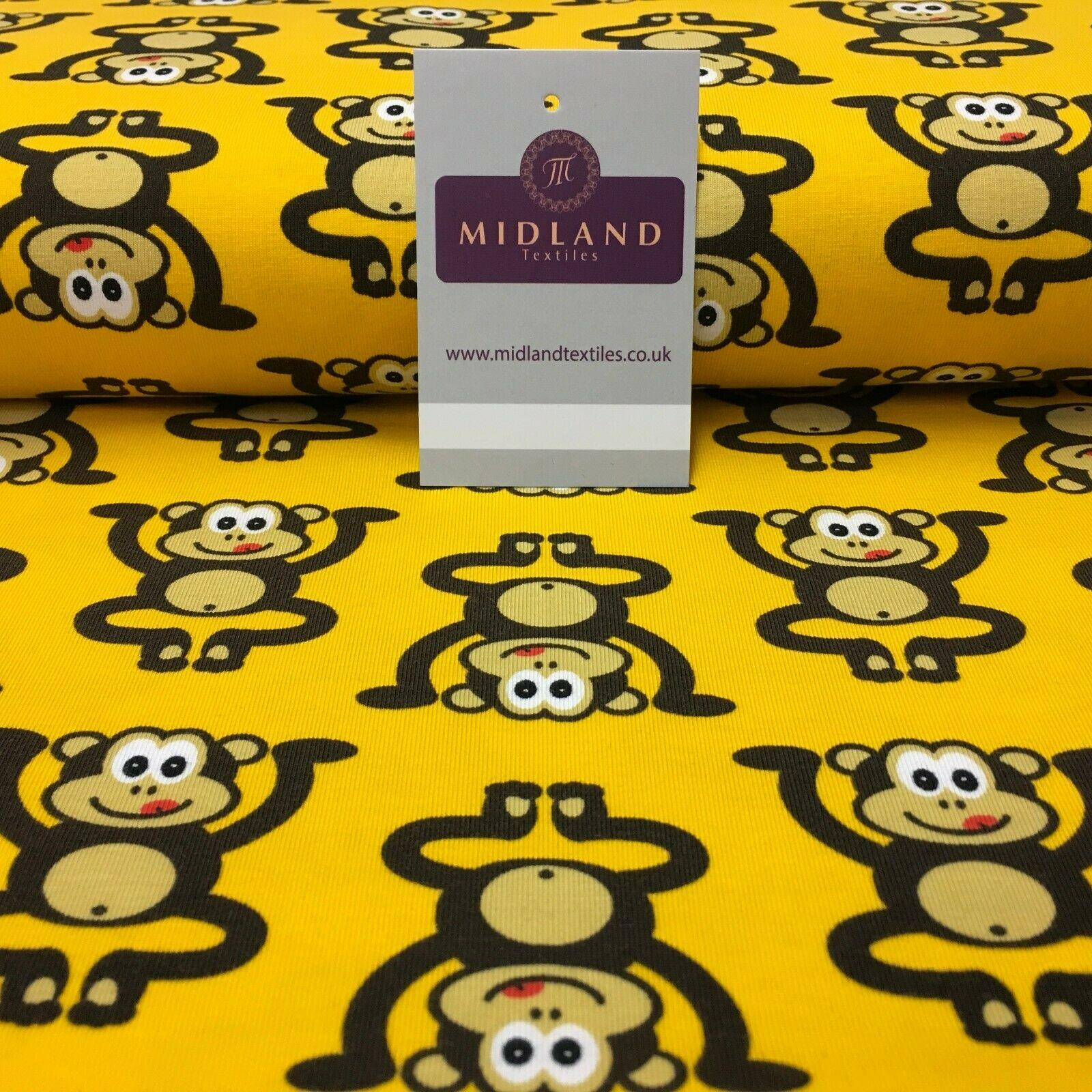 Yellow Cheeky Monkeys Cotton Stretch Jersey Printed Fabric 150cm Wide MX1060-2