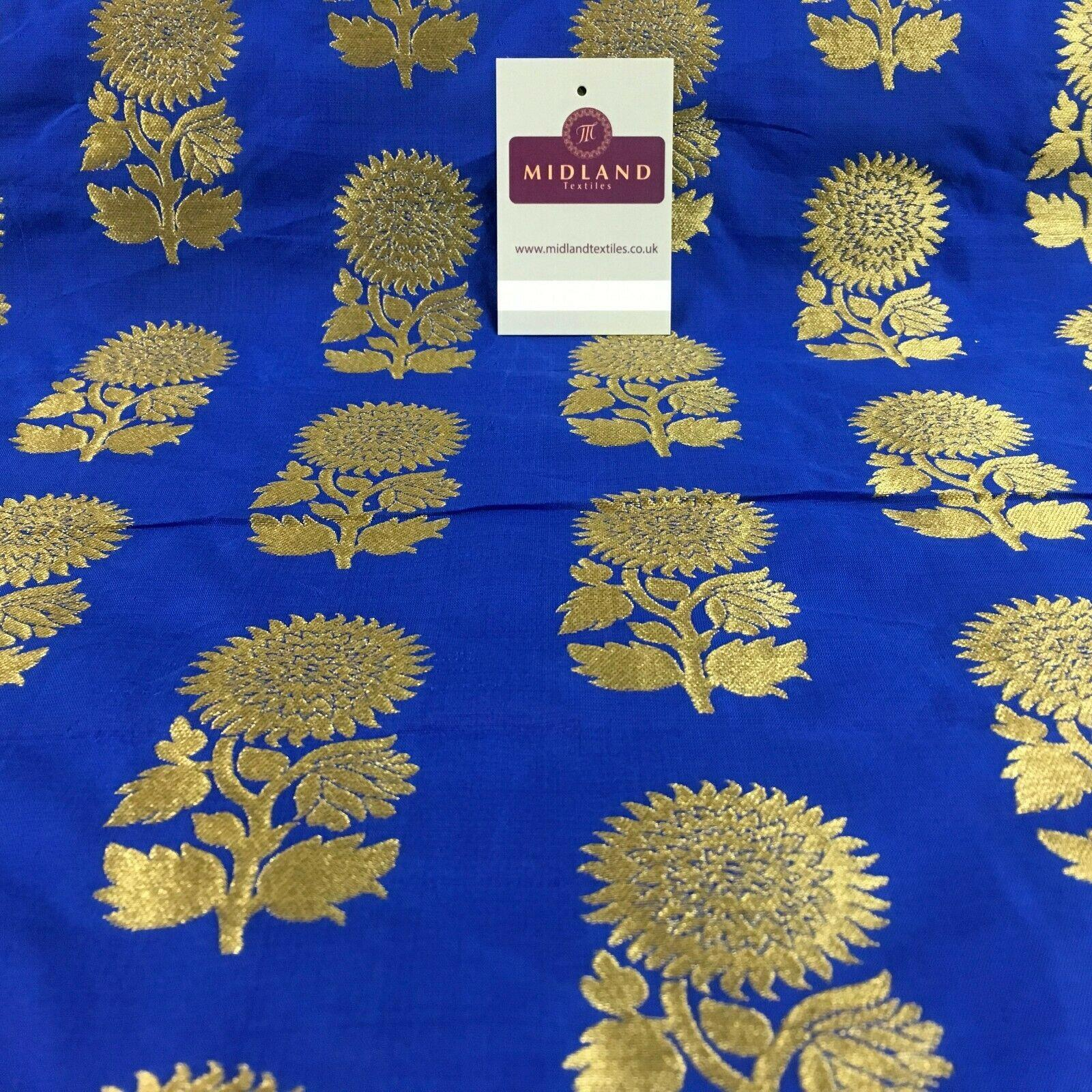 Indian Gold Flower Banarsi Brocade waistcoat fabric 110 cm Wide MN1100 Mtex