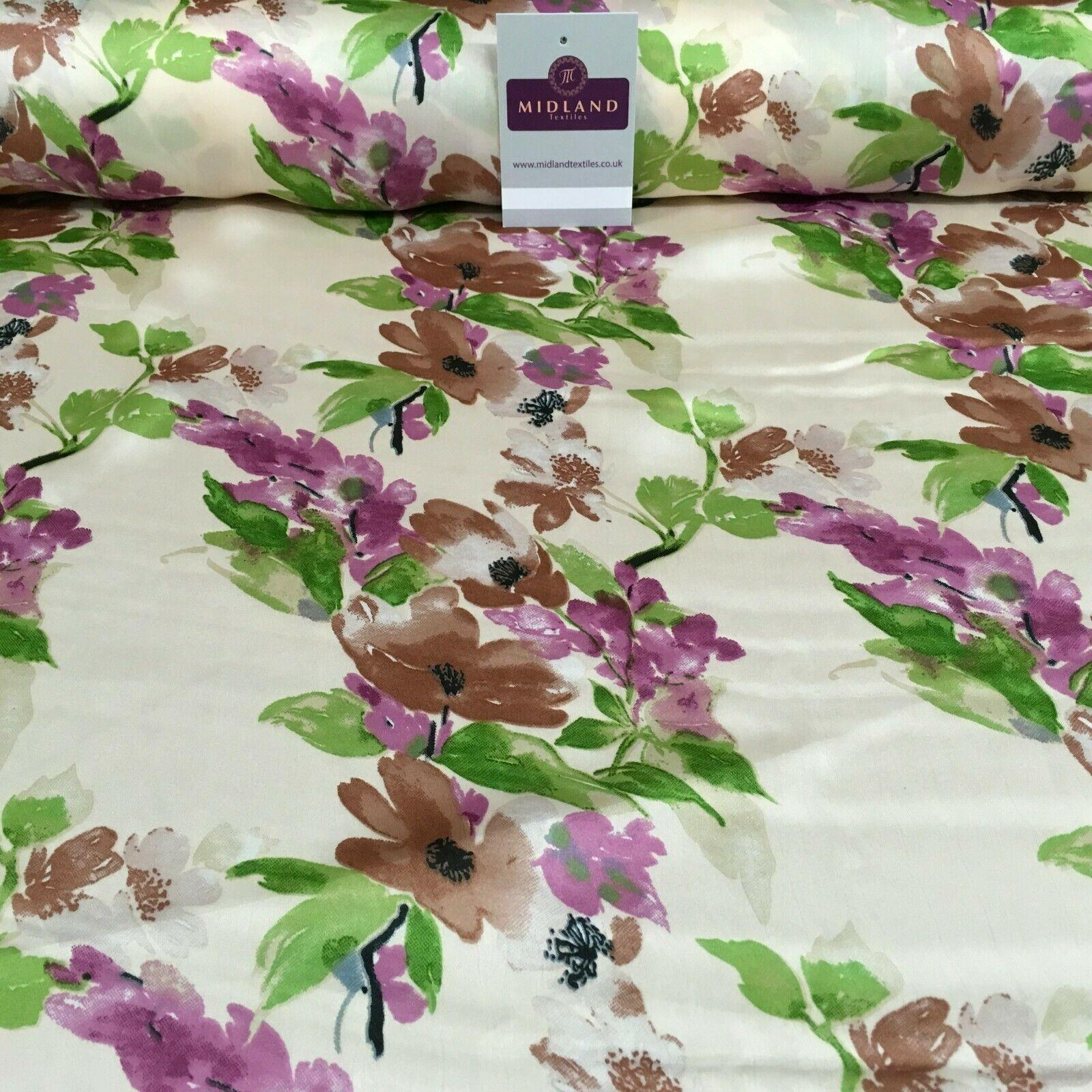 Pastel Floral Silky Satin printed Dress fabric 147 cm Wide MR1132 Mtex
