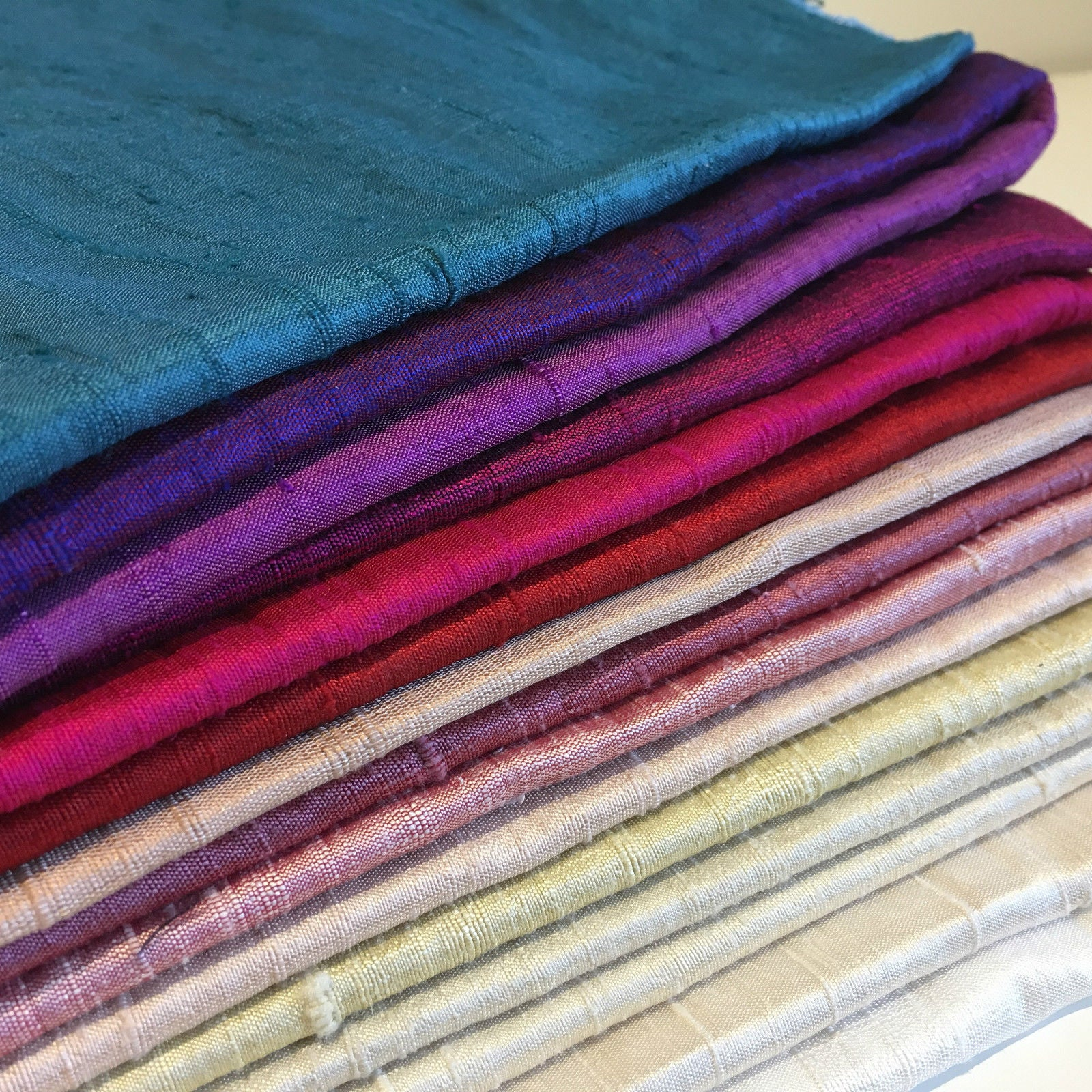 "Pure 100% Silk Handloom Dupion Fabric 44"" Wide Sold By Half Metre M685 61-97"