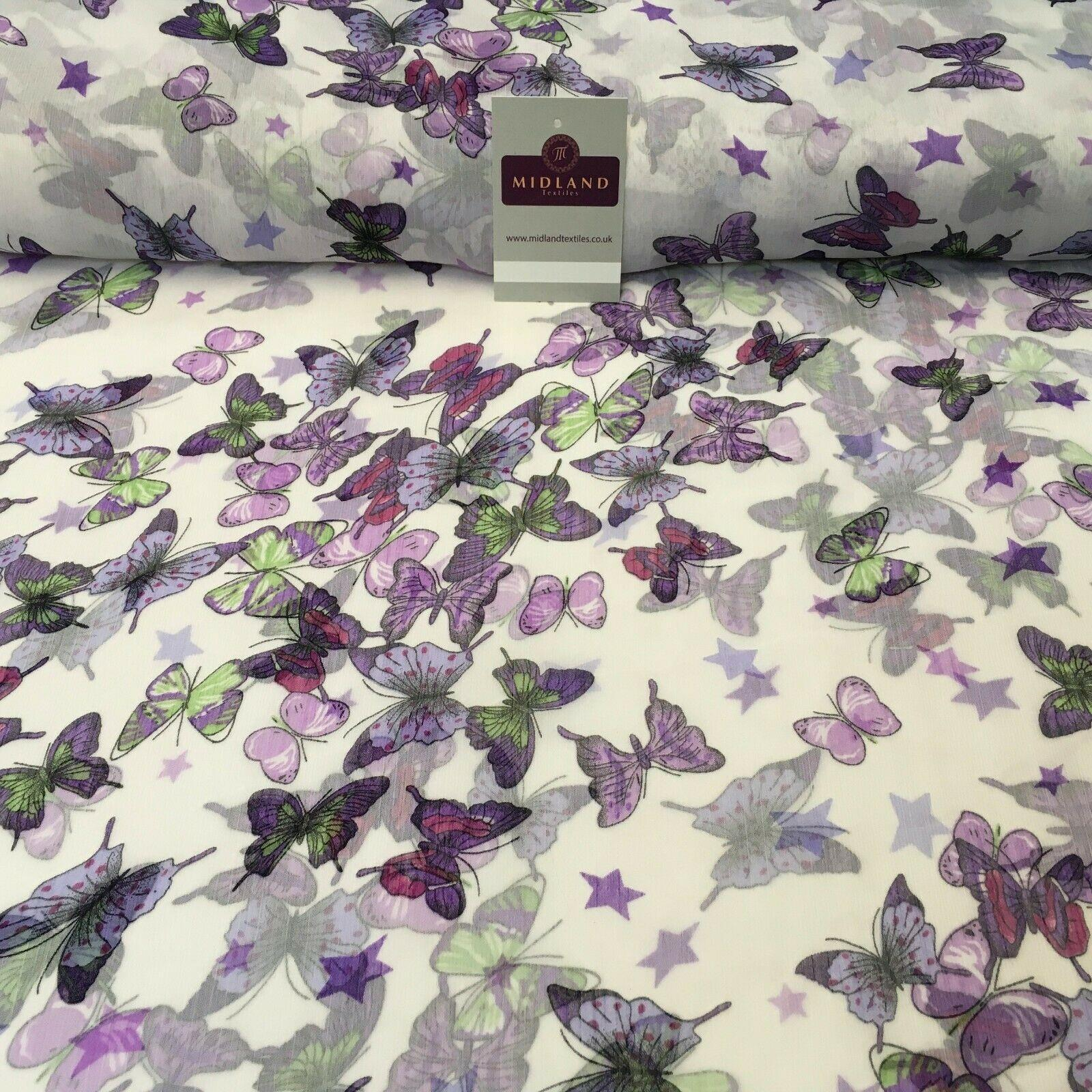 Lilac Butterfly printed Crinkle Georgette Chiffon fabric 150cm wide MK1090-14