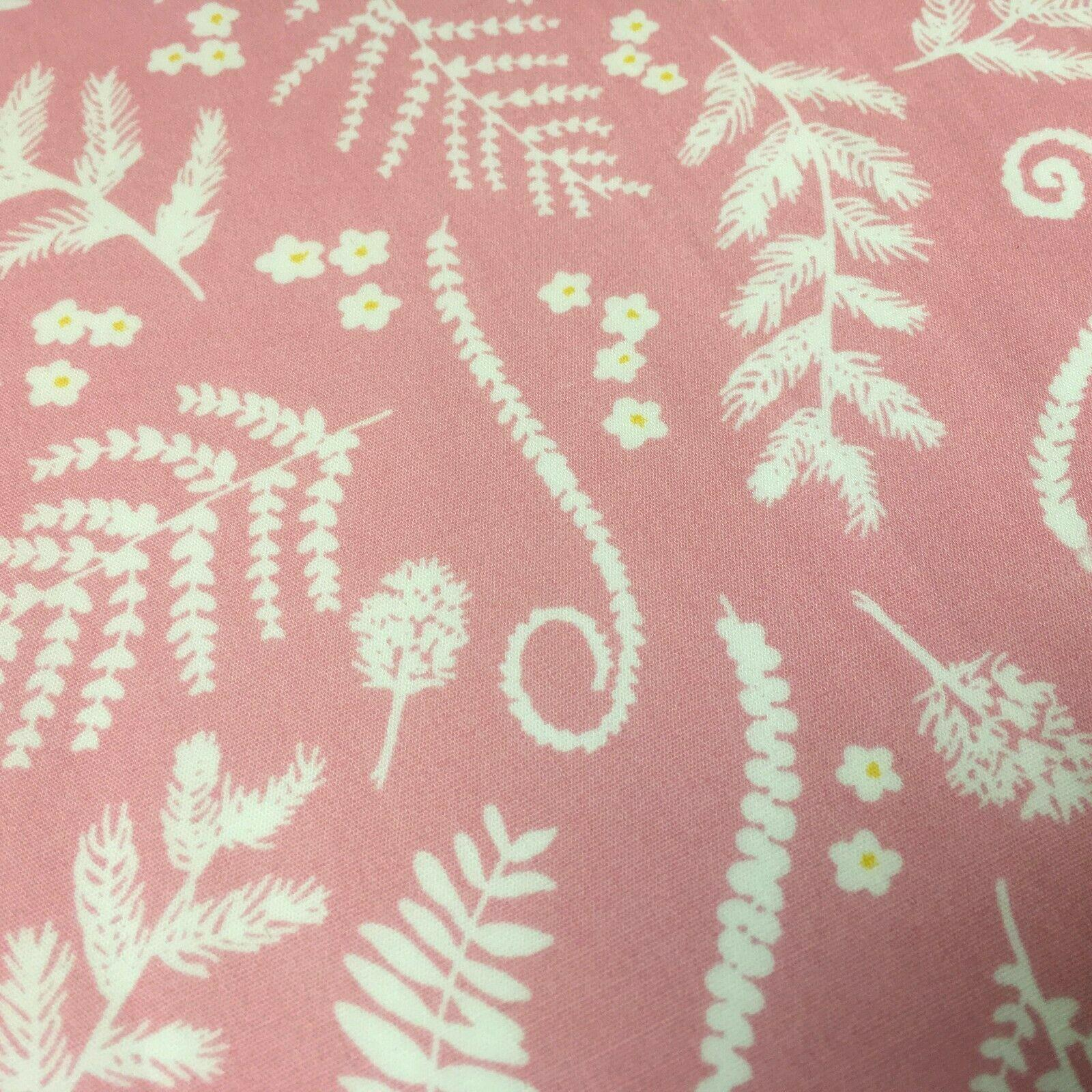 Pink and White Floral 100% Cotton Dress Fabric 110cm Wide MH1041 Mtex