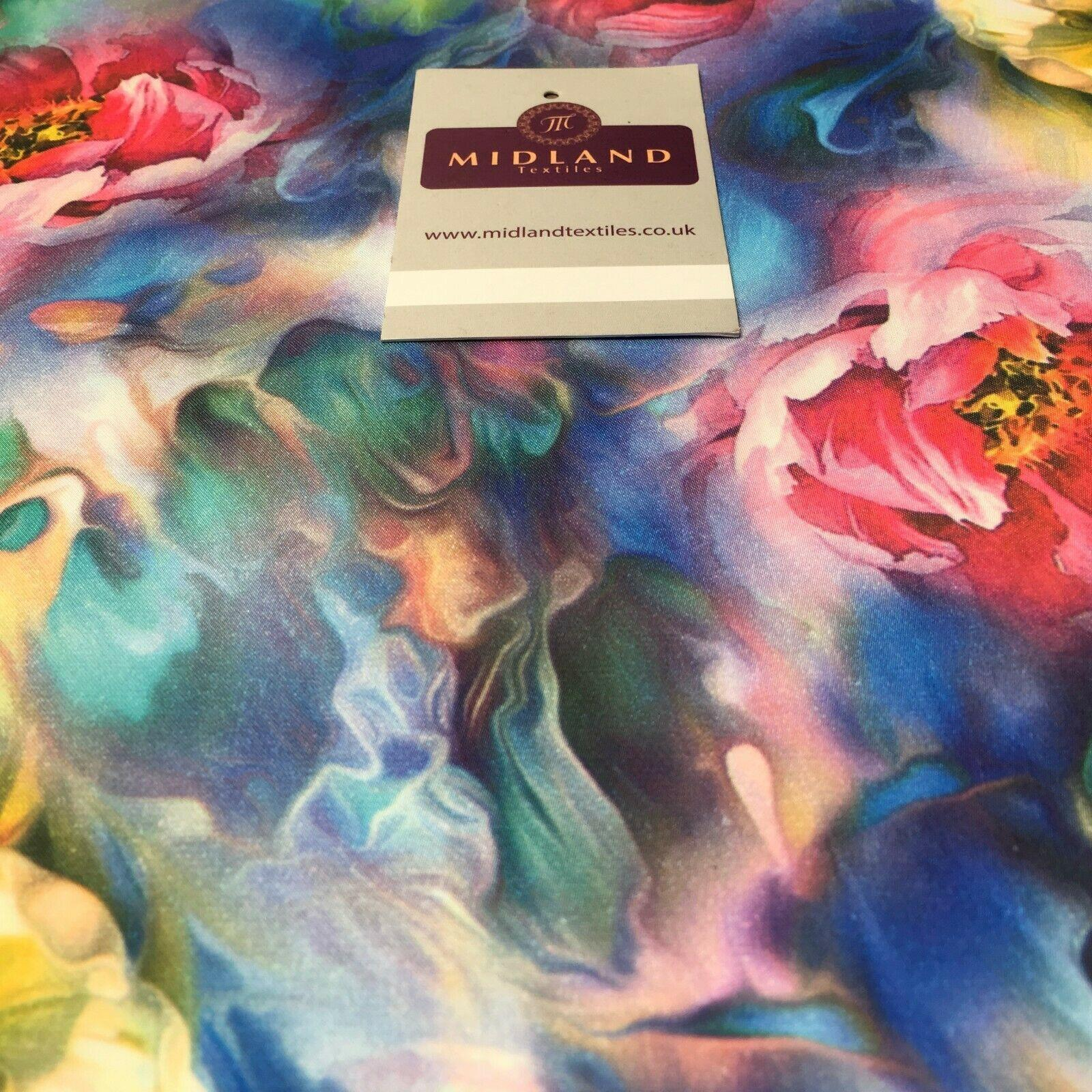 Multicoloured Floral Printed  Charmeuse Satin Dress Fabric 150cm Wide MD1071-3