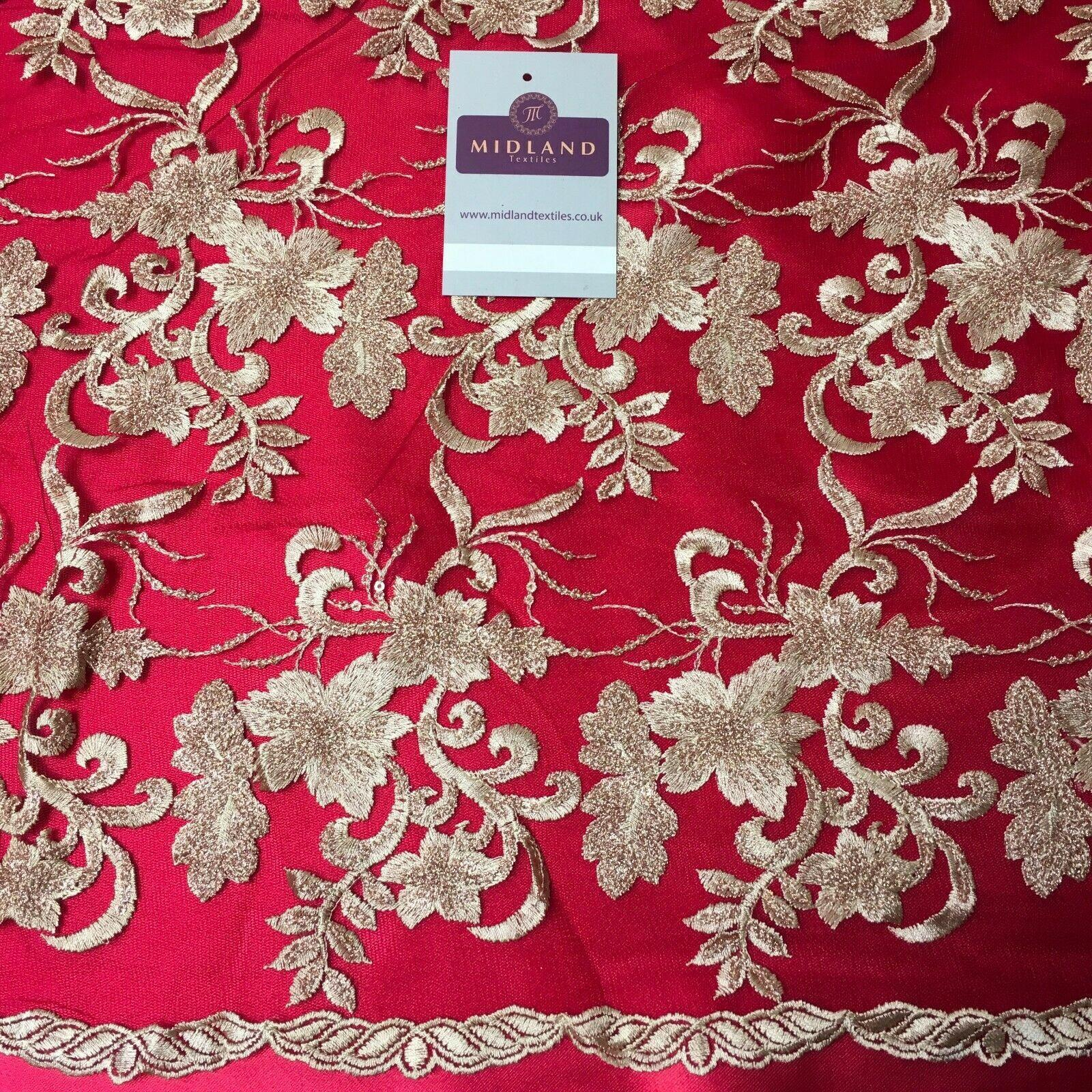 Georgette Fabric with Sequins and Embroidery in Dark Cerise 112cm