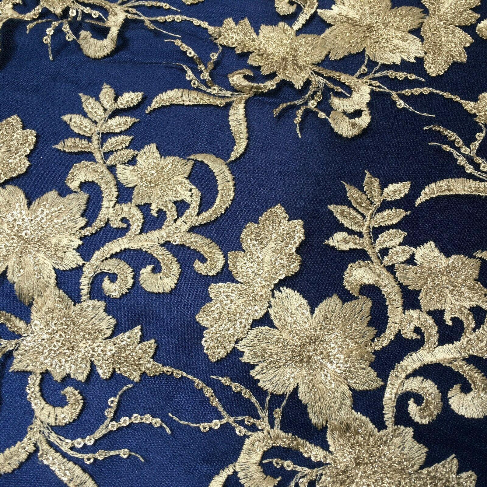 Floral Double Scalloped Gold Thread Embroidered Net Fabric 120cm Wide MJ1070