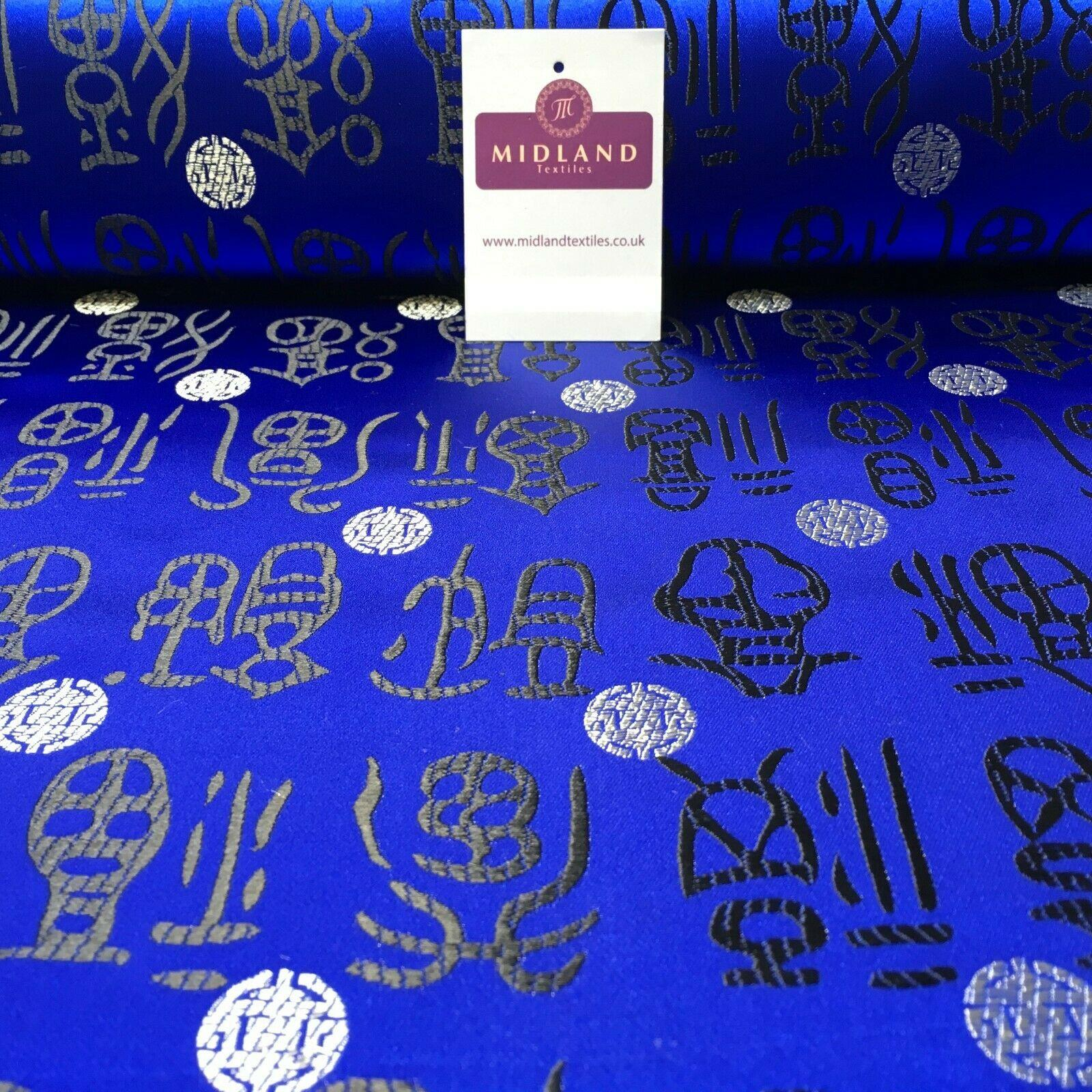 Royal Blue and Black Chinese Words & Medallion Brocade Fabric 110cm Wide M395-25