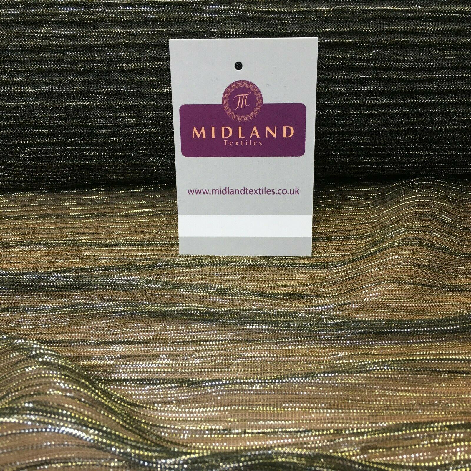 Olive Grey Gold Crinkle Pleated Lurex Net Mesh Fabric 140 Cm MR1076 Mtex