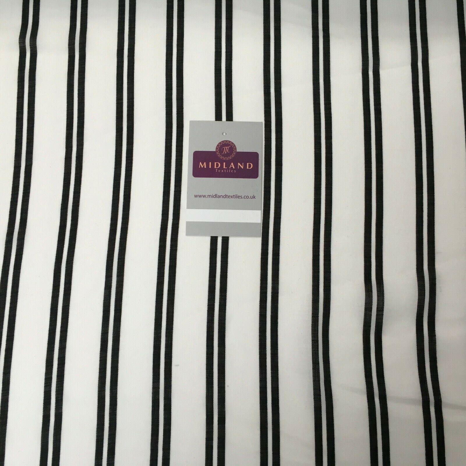 Ivory & Black Stripped Georgette crepe Linen effect fabric 150cm wide MK1095-9