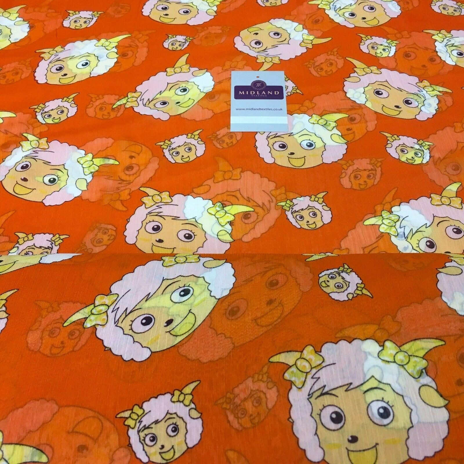 Orange Quirky Printed Crinkle Georgette Chiffon Fabric 150cm wide MK1090-26
