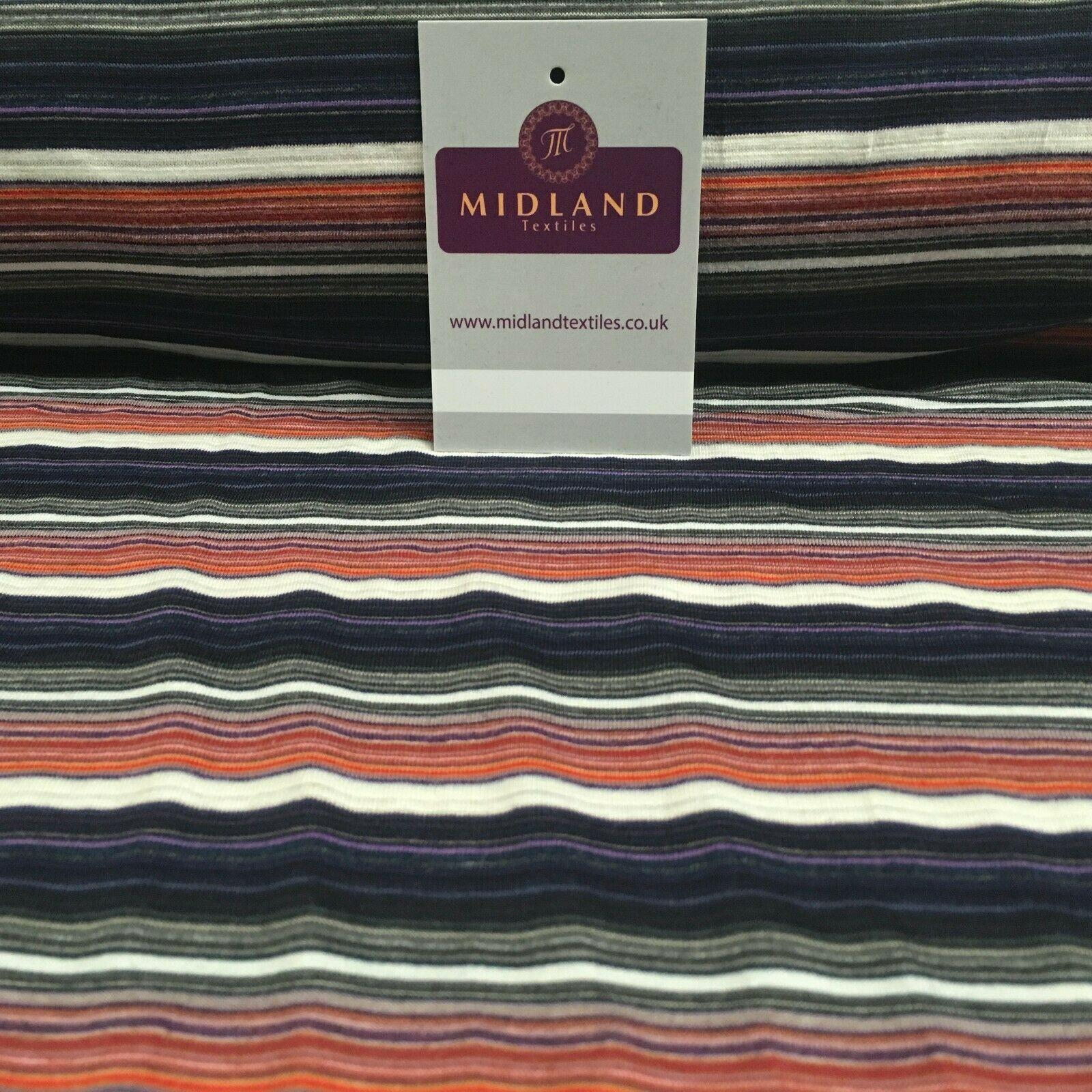 Horizontal Striped Cotton Stretch Jersey Dress fabric 150cm Wide MK1091 Mtex