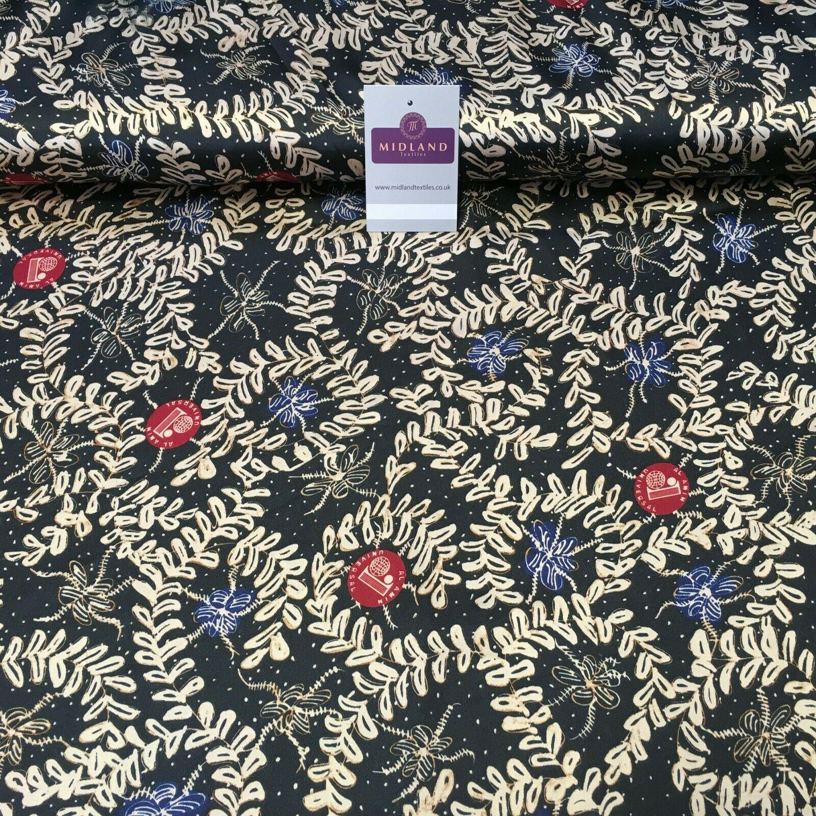 Black and Gold Floral Printed Satin Dress fabric 150cm Wide M1115 Mtex