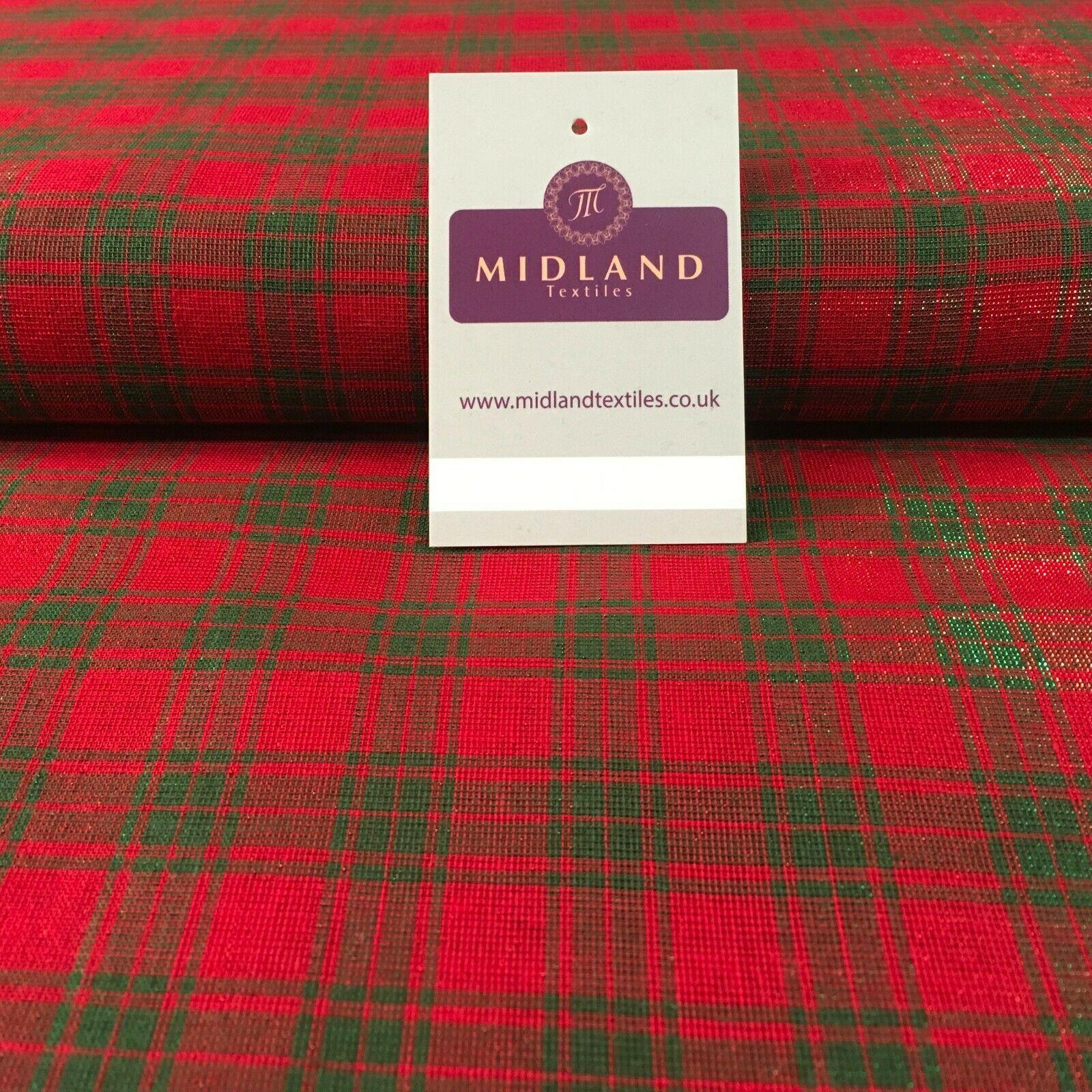 Tartan Check Cotton Lurex Christmas Sparkly Party fabric 110cm Wide MD1161 Mtex