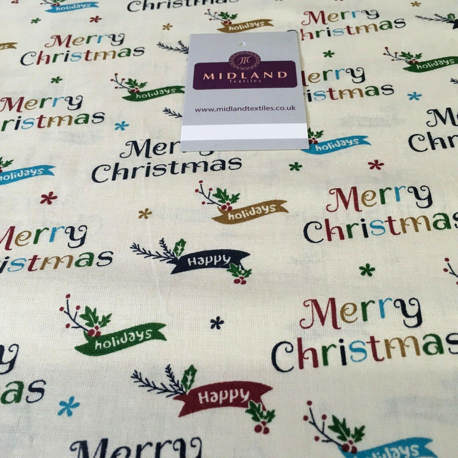 Merry Christmas Theme 100% Cotton Printed Fabric 150cm Wide MD1163