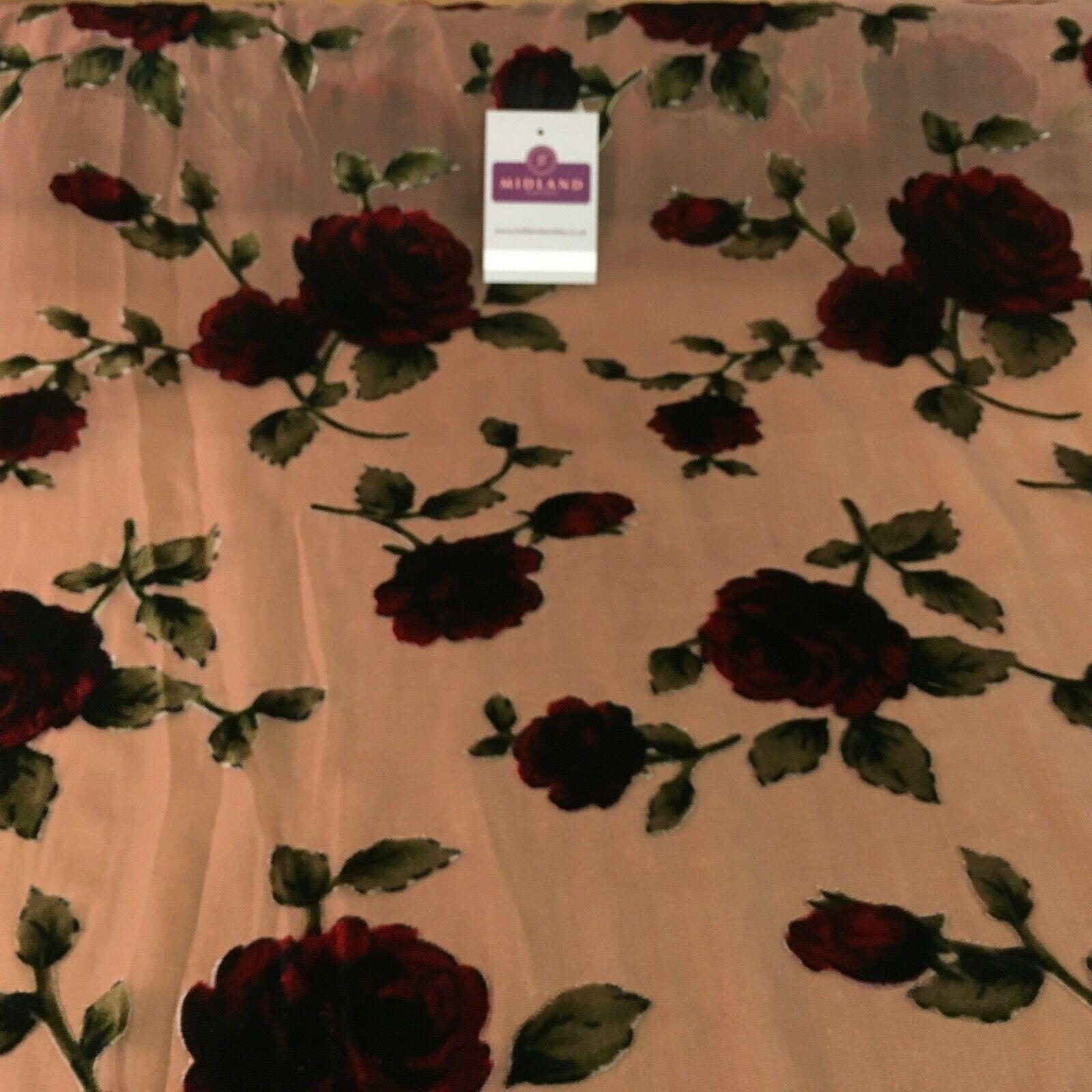 Rosy Brown Burnout Floral Velvet Devore Dress Fabric 140 cm Wide MV1146 Mtex