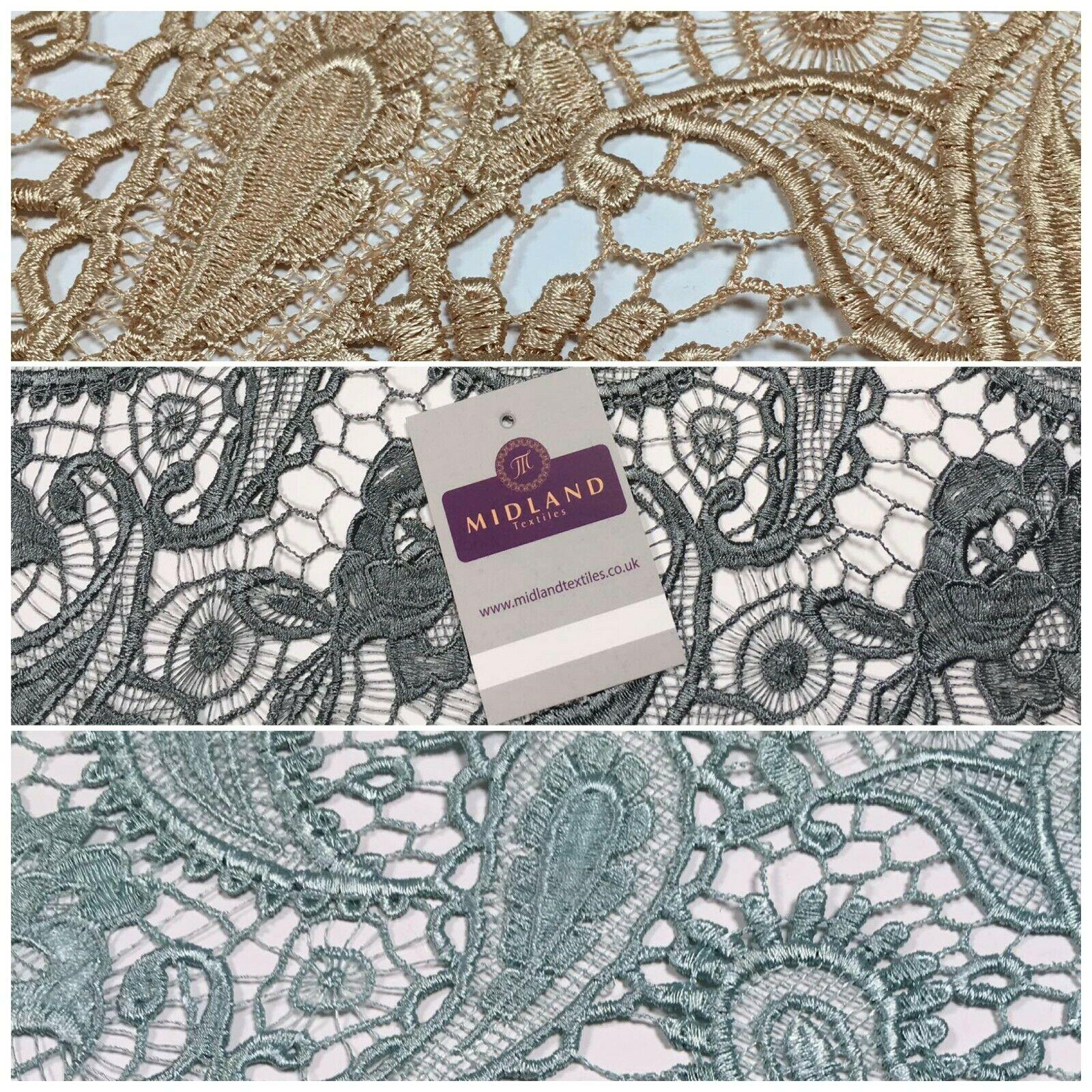 Scalloped Paisley Floral Corded Guipure Lace Dress Fabric 127cm Wide M1136 Mtex