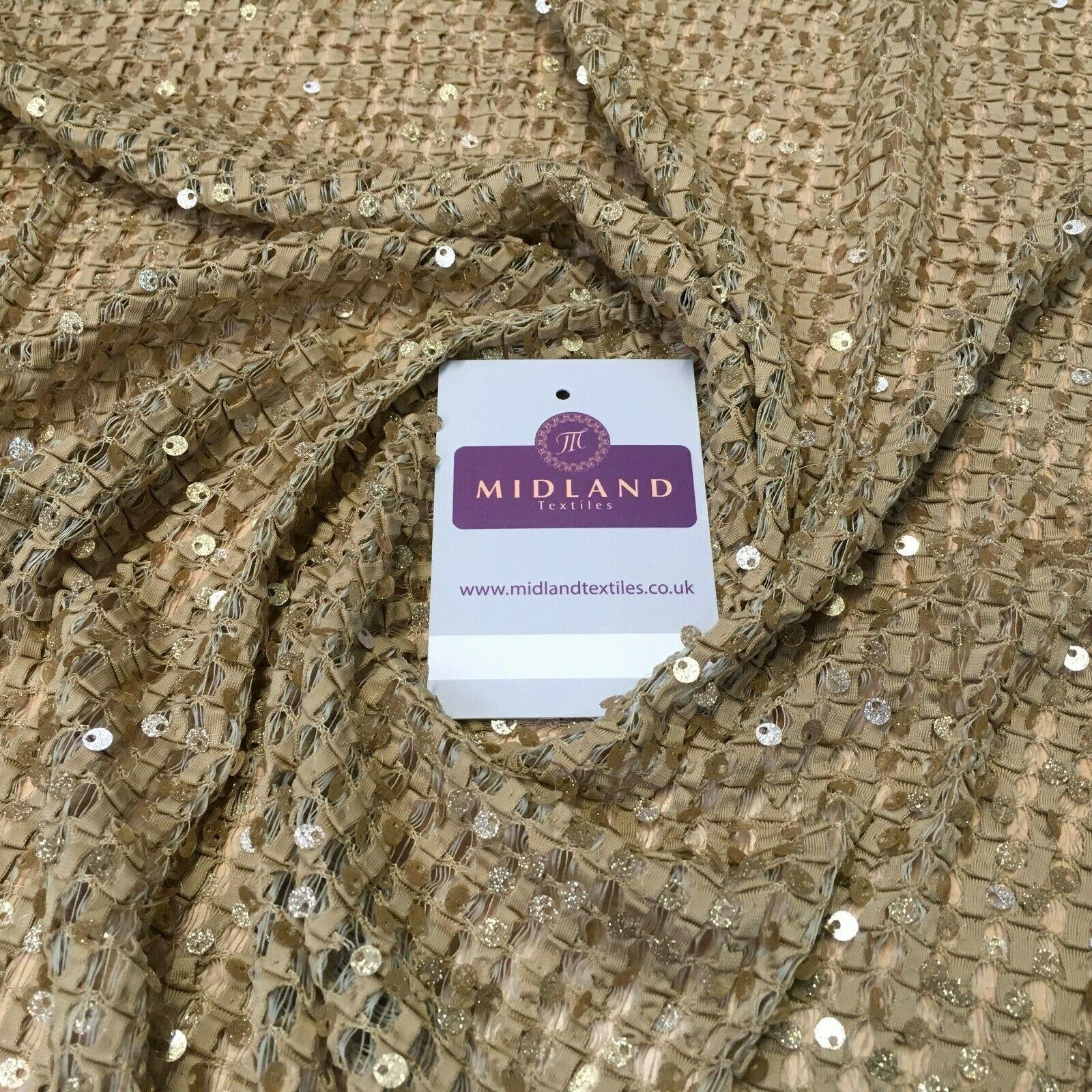 Beige Gold Knit Jersey Sequins Net mesh Ideal for scarfs 127 cm Wide MR1108