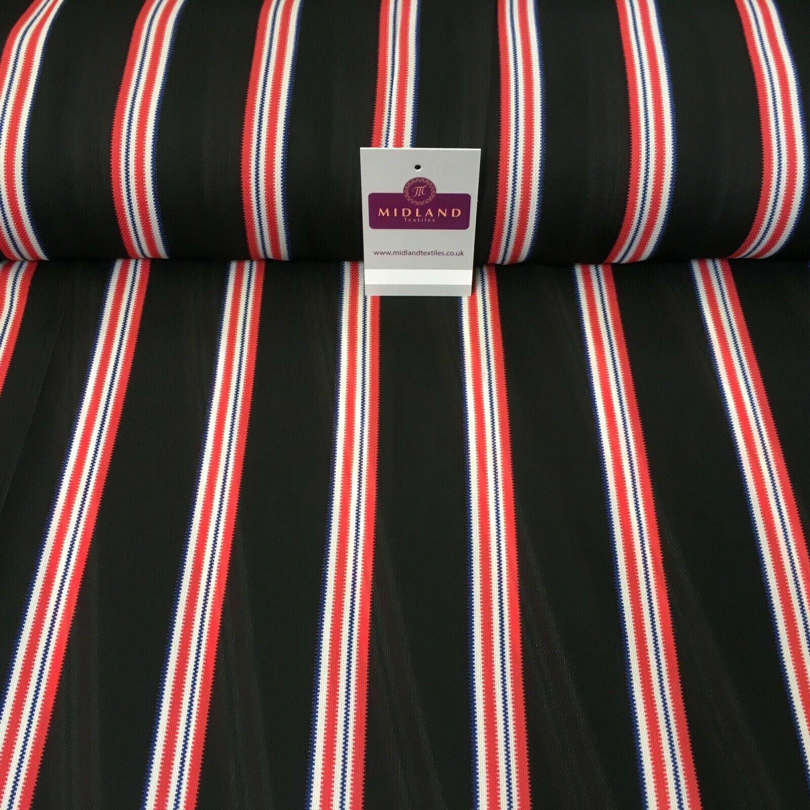 Black & Coral Stripped soft Georgette twist voile Dress Fabric 147cm MK1185-8
