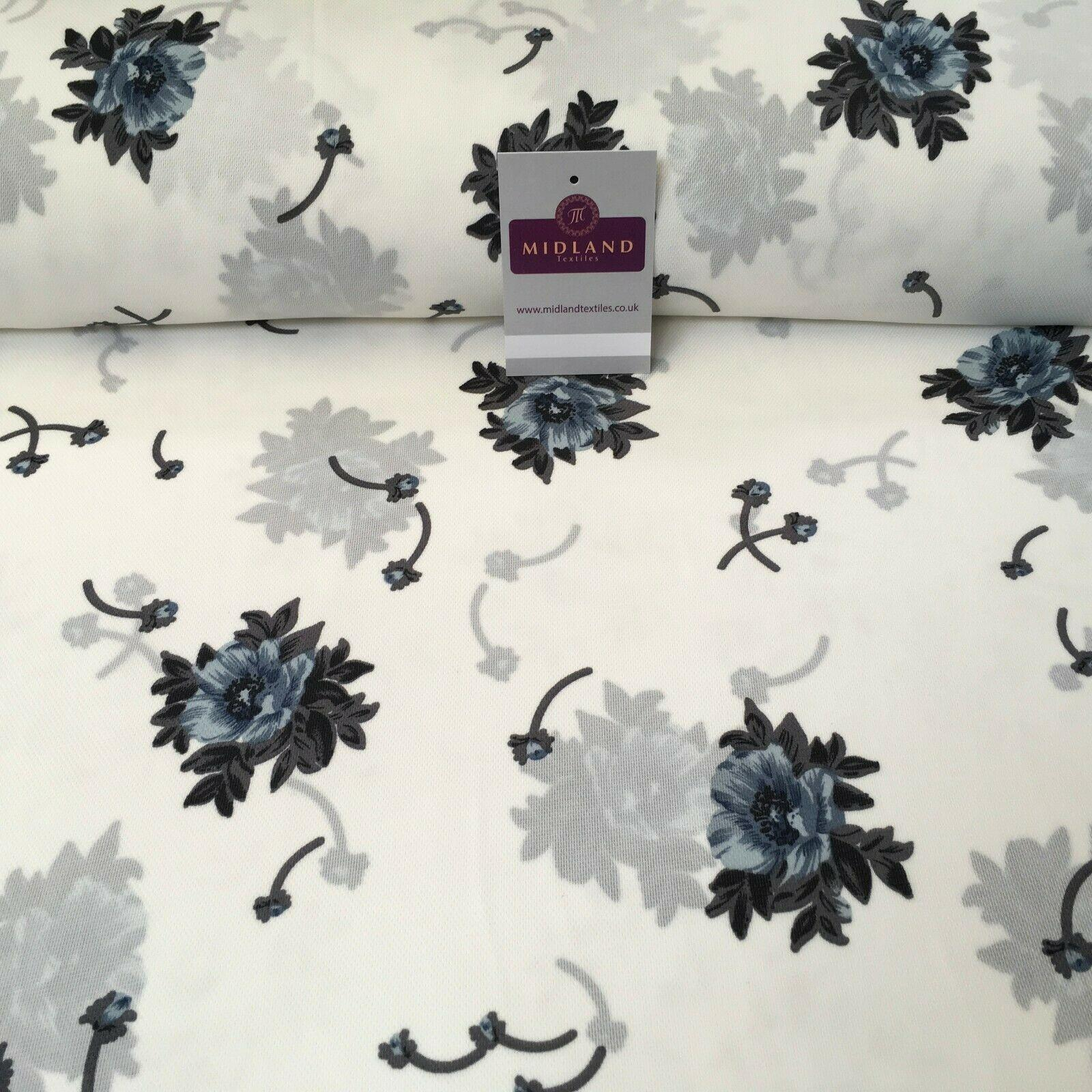 Ivory & Grey floral soft Georgette twist voile Dress Fabric 147cm MK1185-10