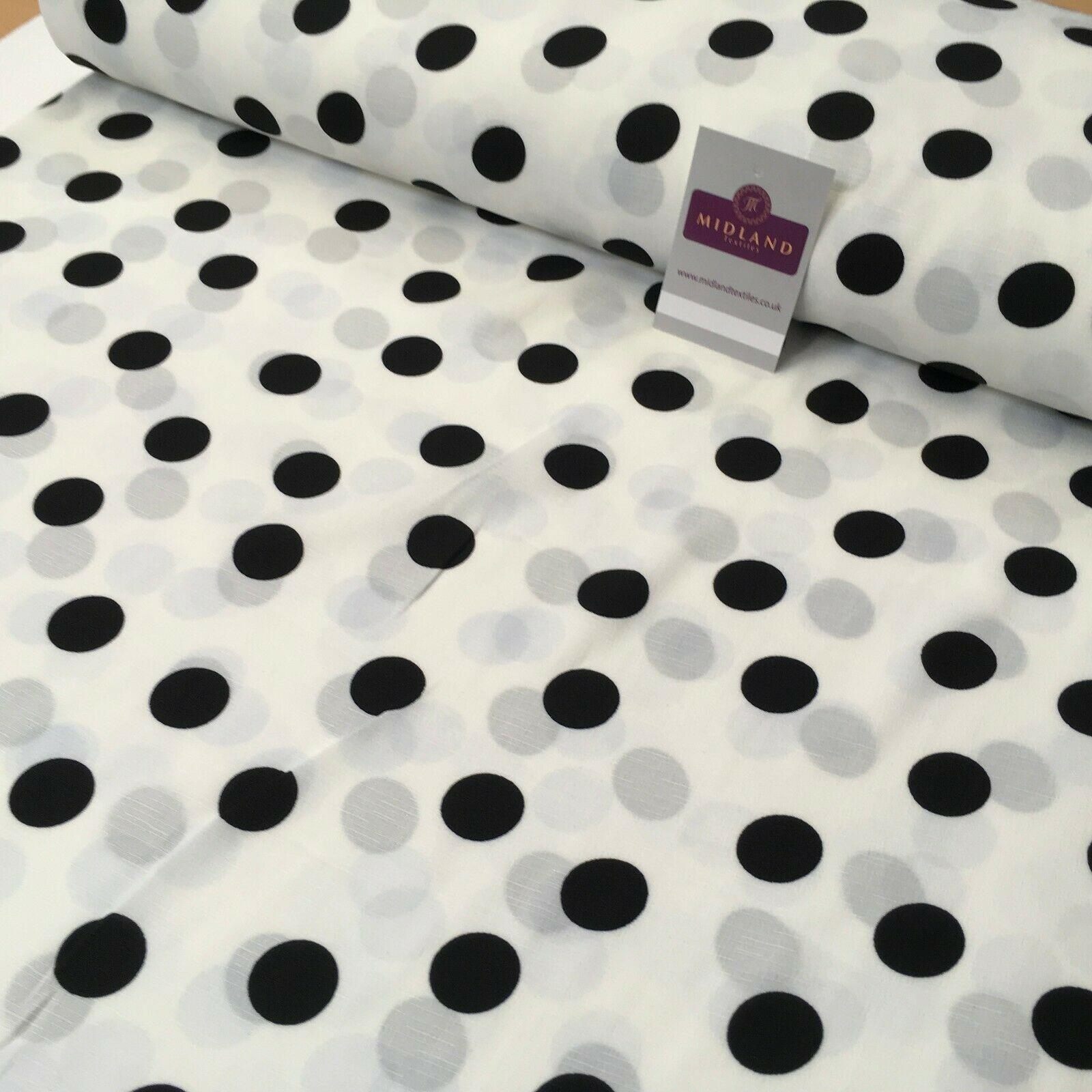 Ivory Black Spot Dot Linen Effect Georgette Crepe Dress Fabric 147cm MK1184-16