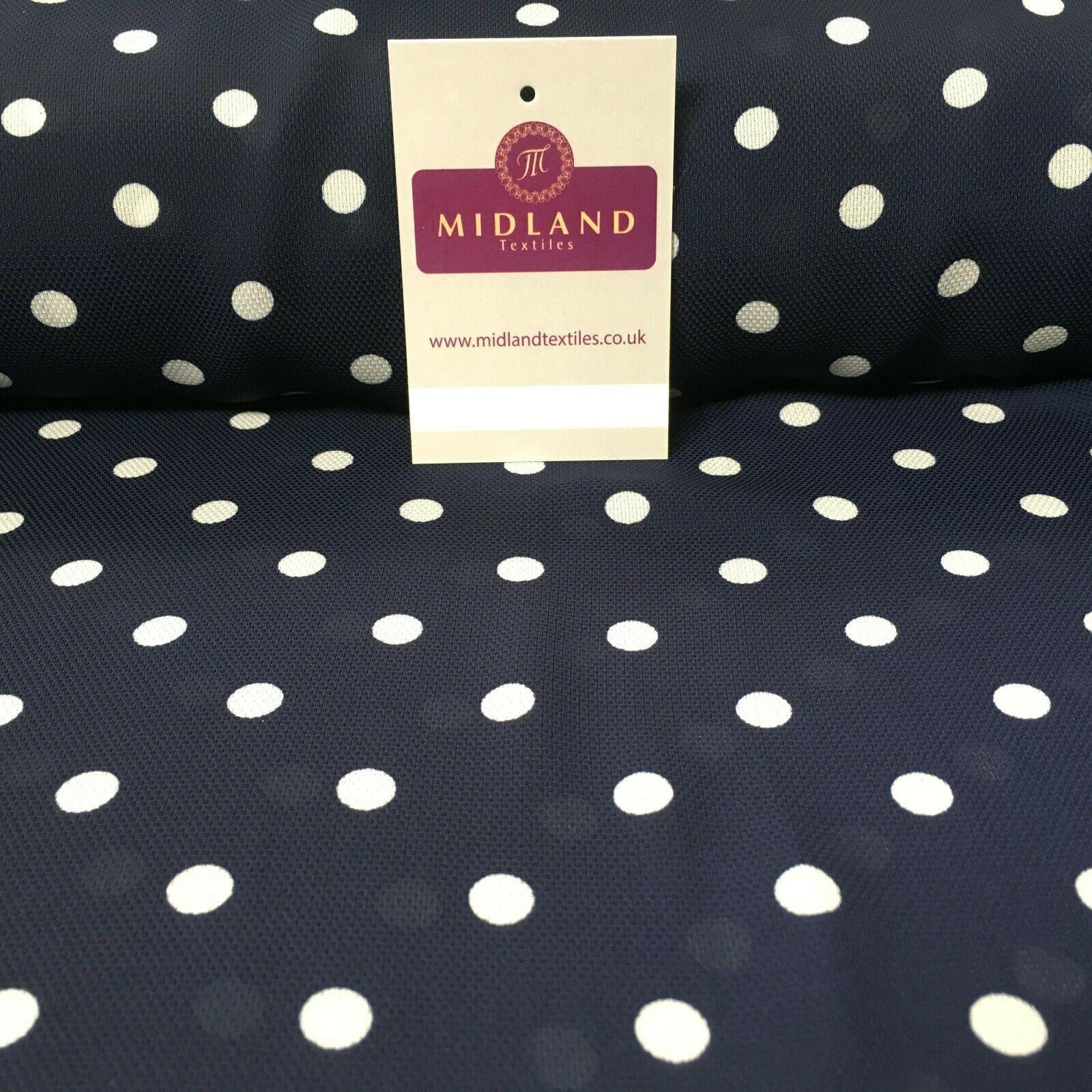 Navy & Ivory Spot dot Soft Georgette twist voile Dress Fabric 147cm MK1185-1