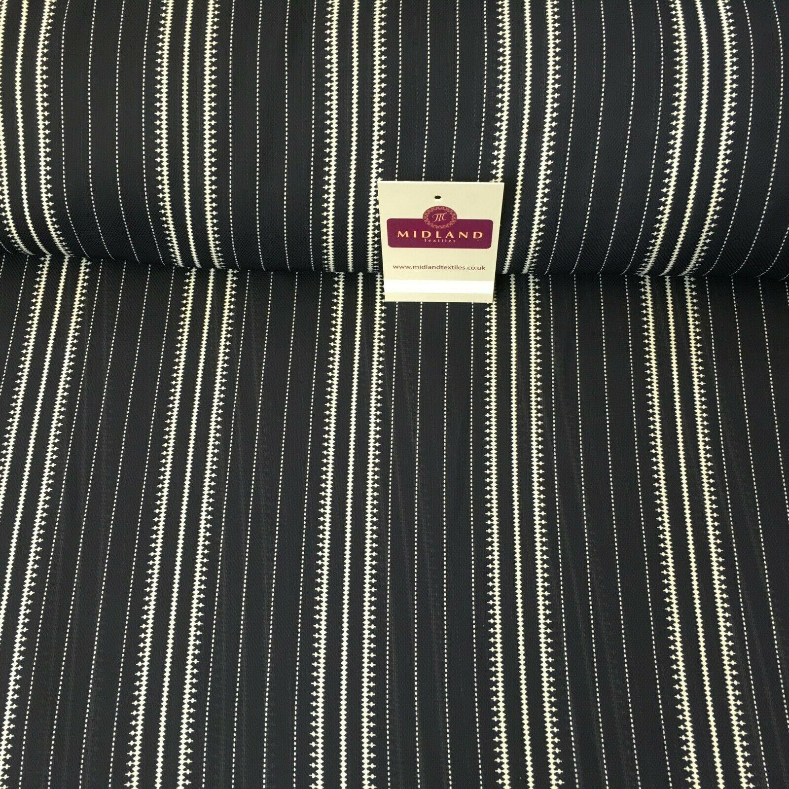 Navy Striped Printed soft Georgette twist voile Dress Fabric 147 Cm MK1185-13