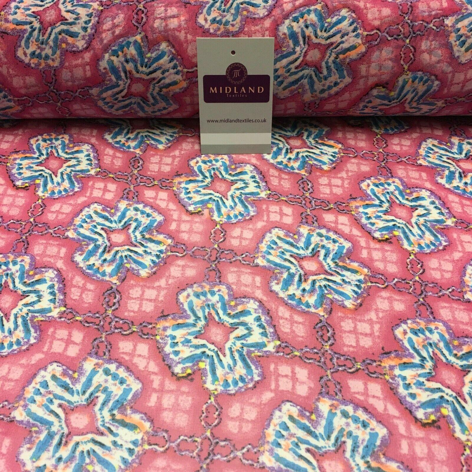 Pink Geometric Printed Crepe chiffon Dress Fabric 150 cm MK1190-31 Mtex