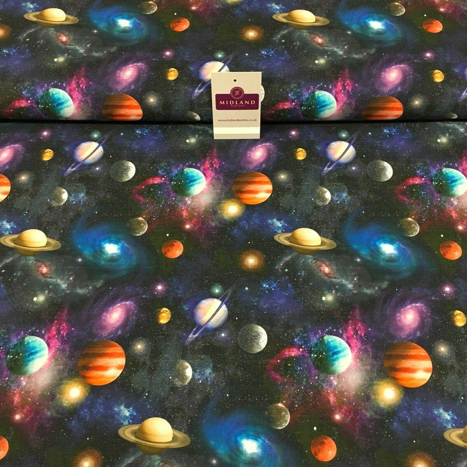 Navy Digital Printed Universe Galaxy 100% Cotton Fabric 150 cm MH1188 Mtex