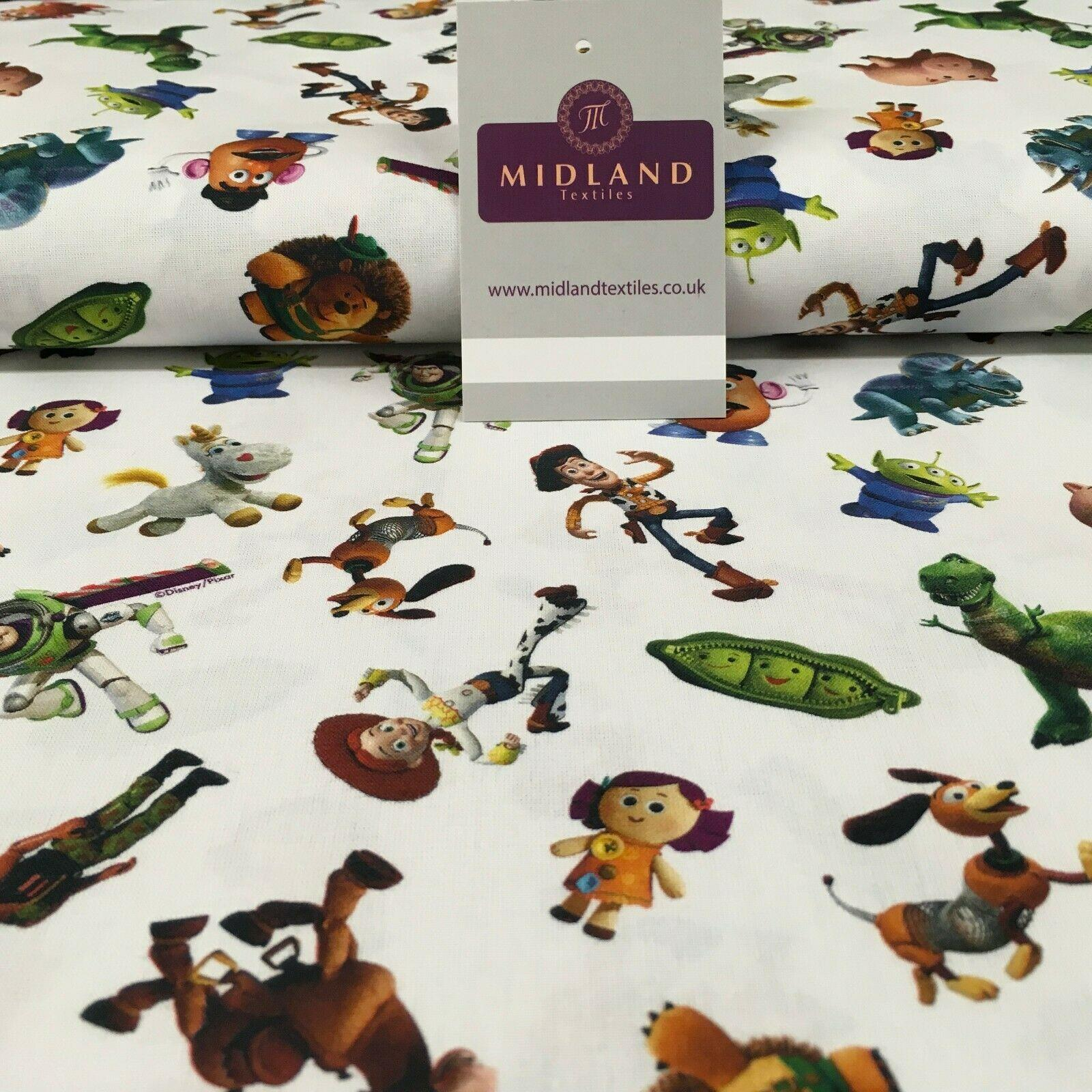 White Toy Story Licensed Digital Printed 100% Cotton Fabric 150 cm MH1191 Mtex