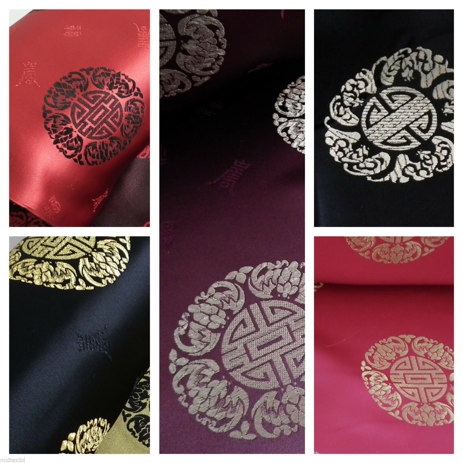 "Chinese Fortune Medallion Print Silky Satin Fabric 45"" Wide M59"